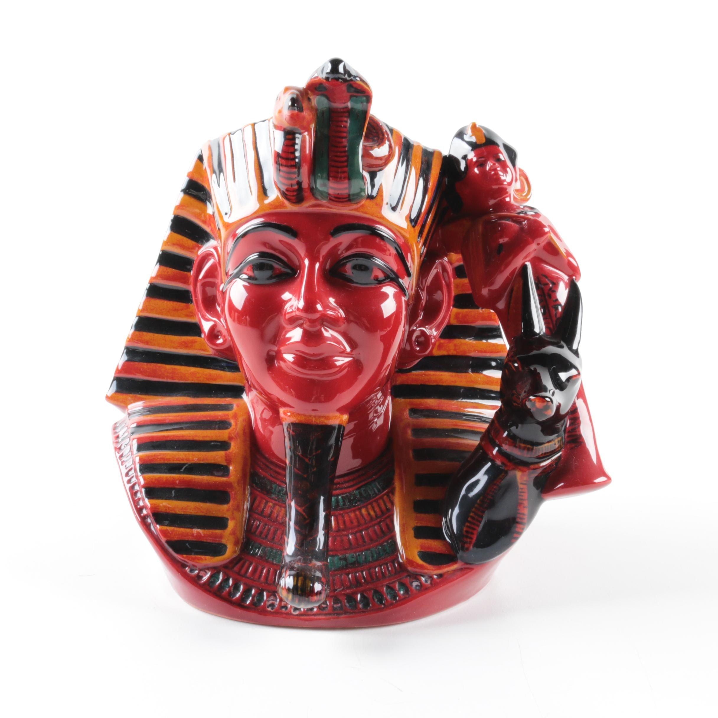 """Signed Royal Doulton Flambe Character Jug """"The Pharaoh"""" D7028 1996"""