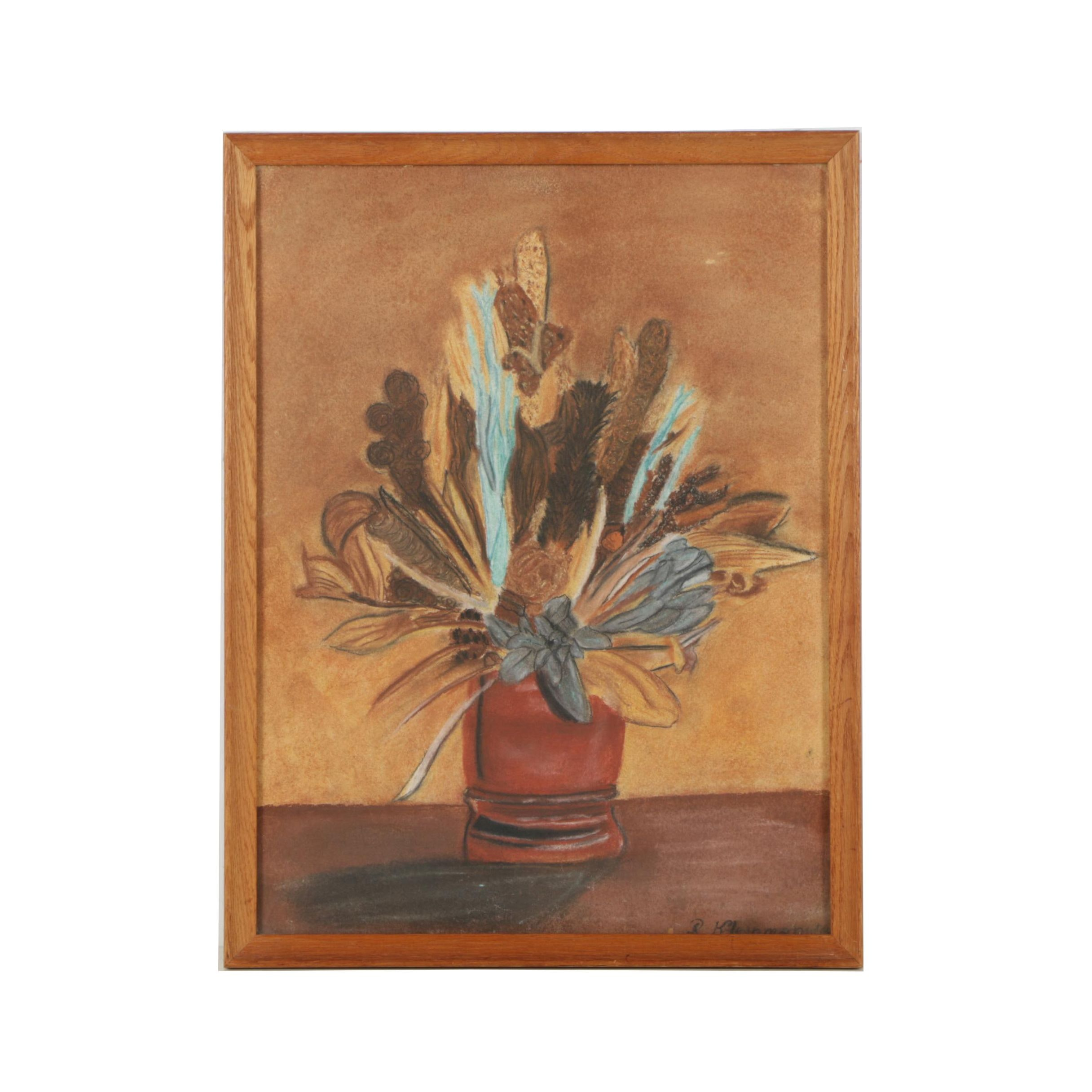 R. Kleinman Pastel Drawing of Potted Plant