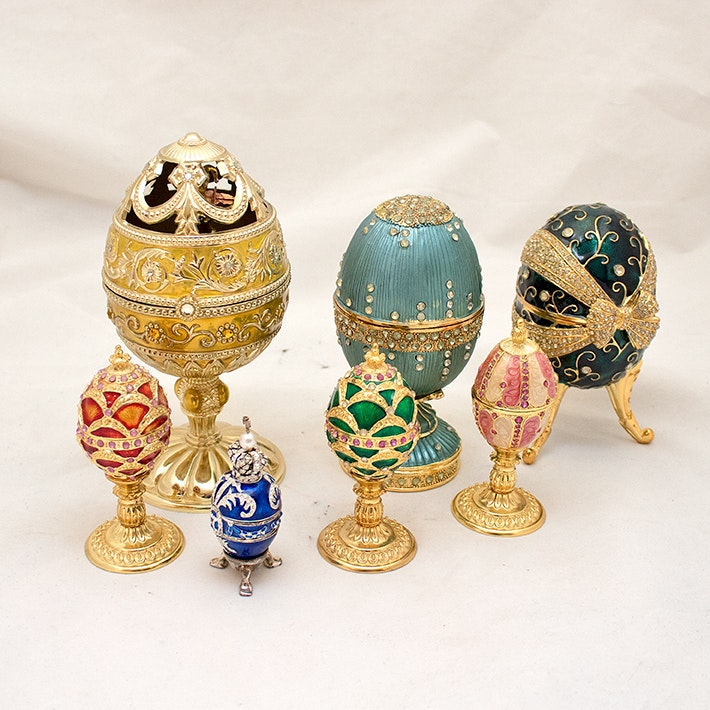 Enamel and Metal Russian Style Decorative Eggs and Music Boxes