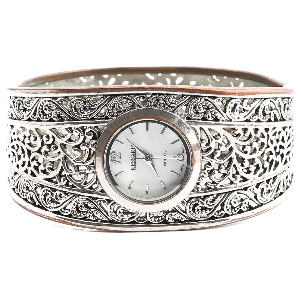 Kessaris Silver Plated Cuff Wristwatch