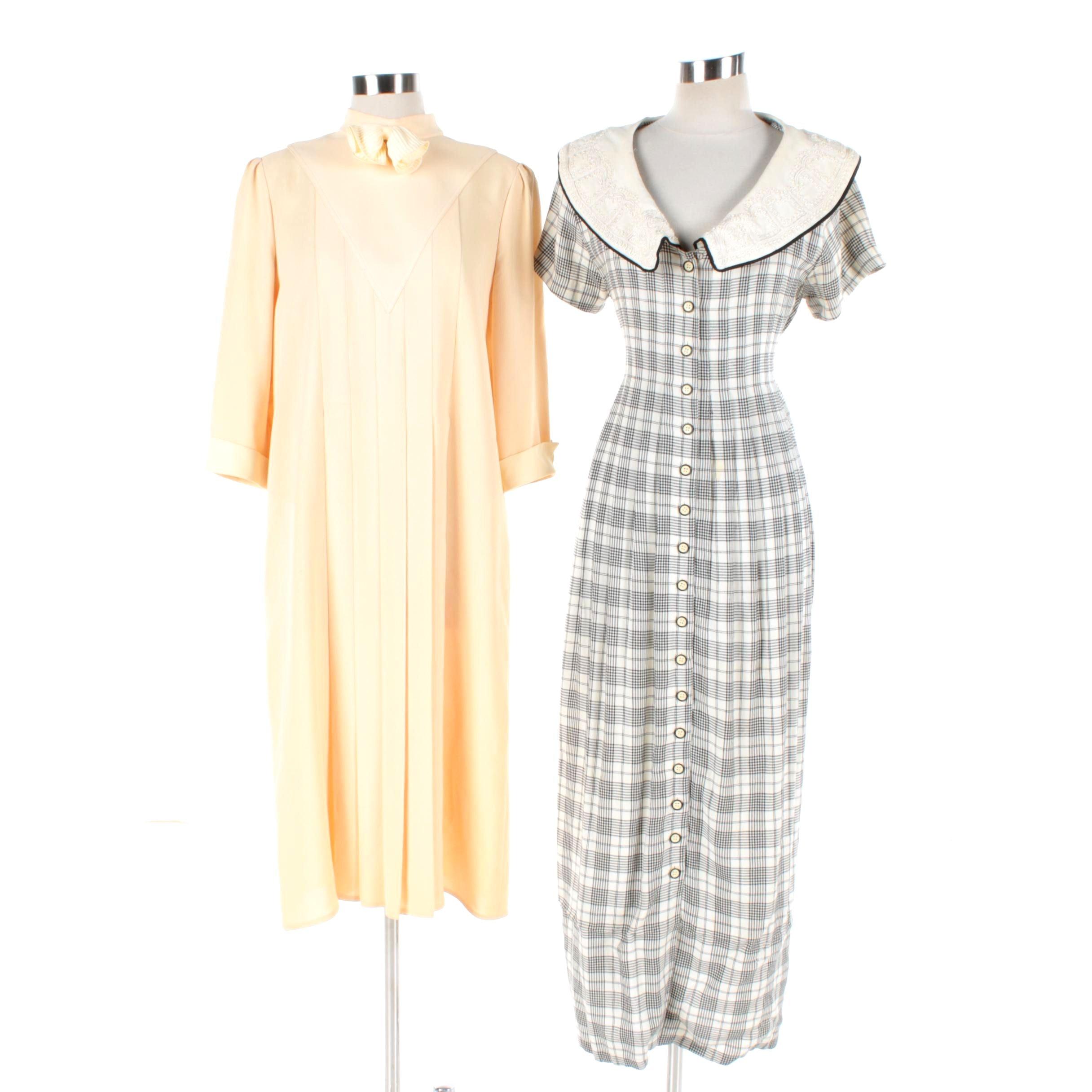 Women's Vintage Richard Warren Bib Dress and Sarah Elizabeth Cape Collar Dress