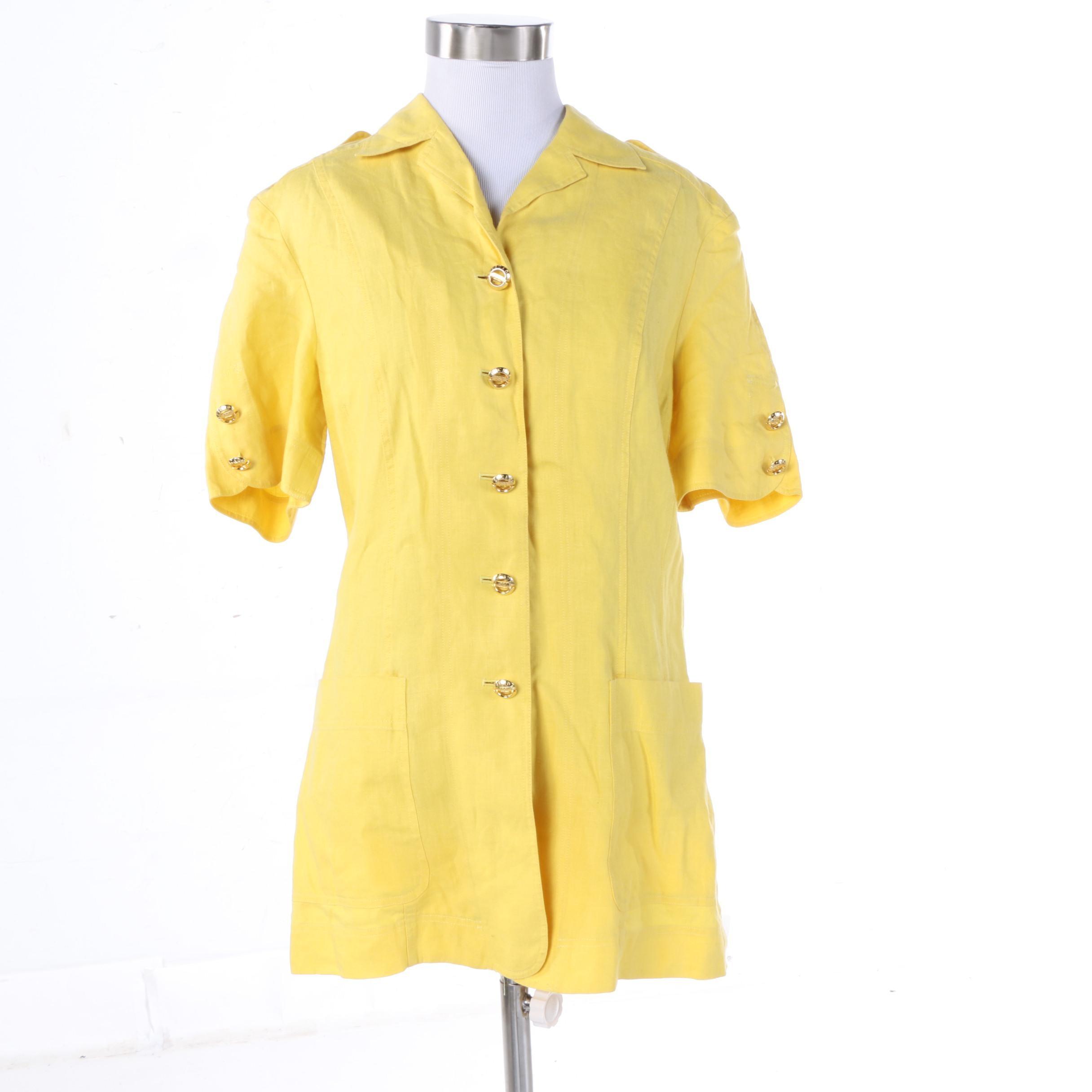 Vintage Escada Margaretha Ley Yellow Linen Short Sleeve Jacket