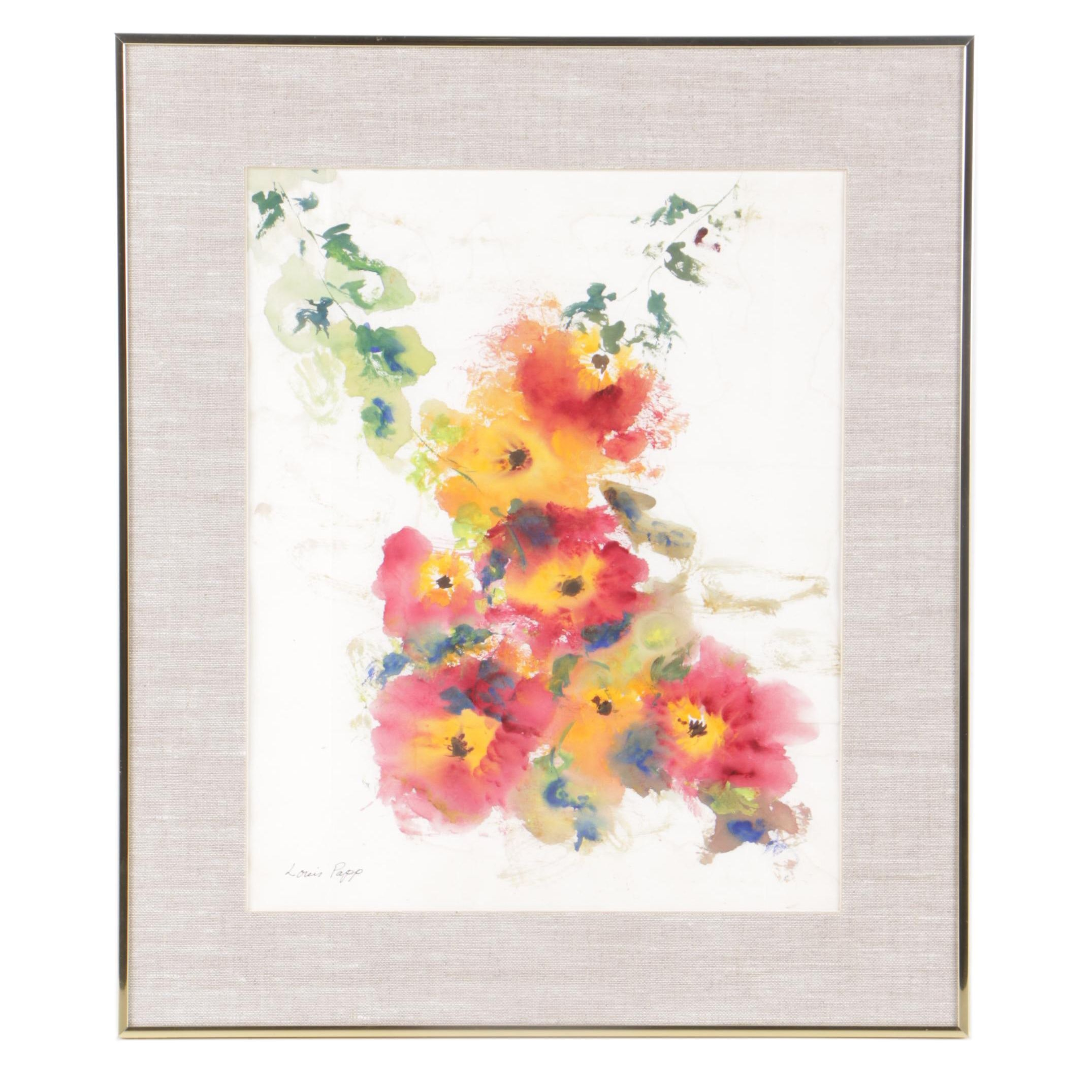 Louis Papp Watercolor Painting of Abstract Floral Composition