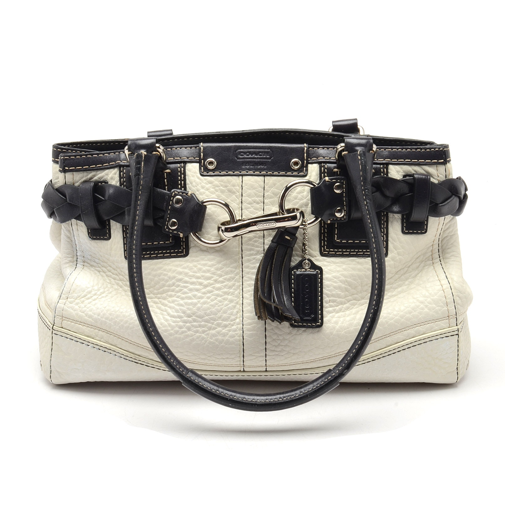 Coach Hamptons Ivory and Black Pebbled Leather Satchel Handbags