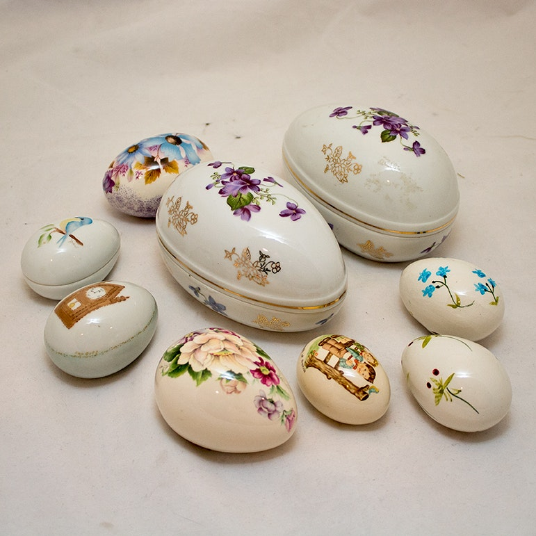 Porcelain Hand-Painted Decorative Egg Figurines