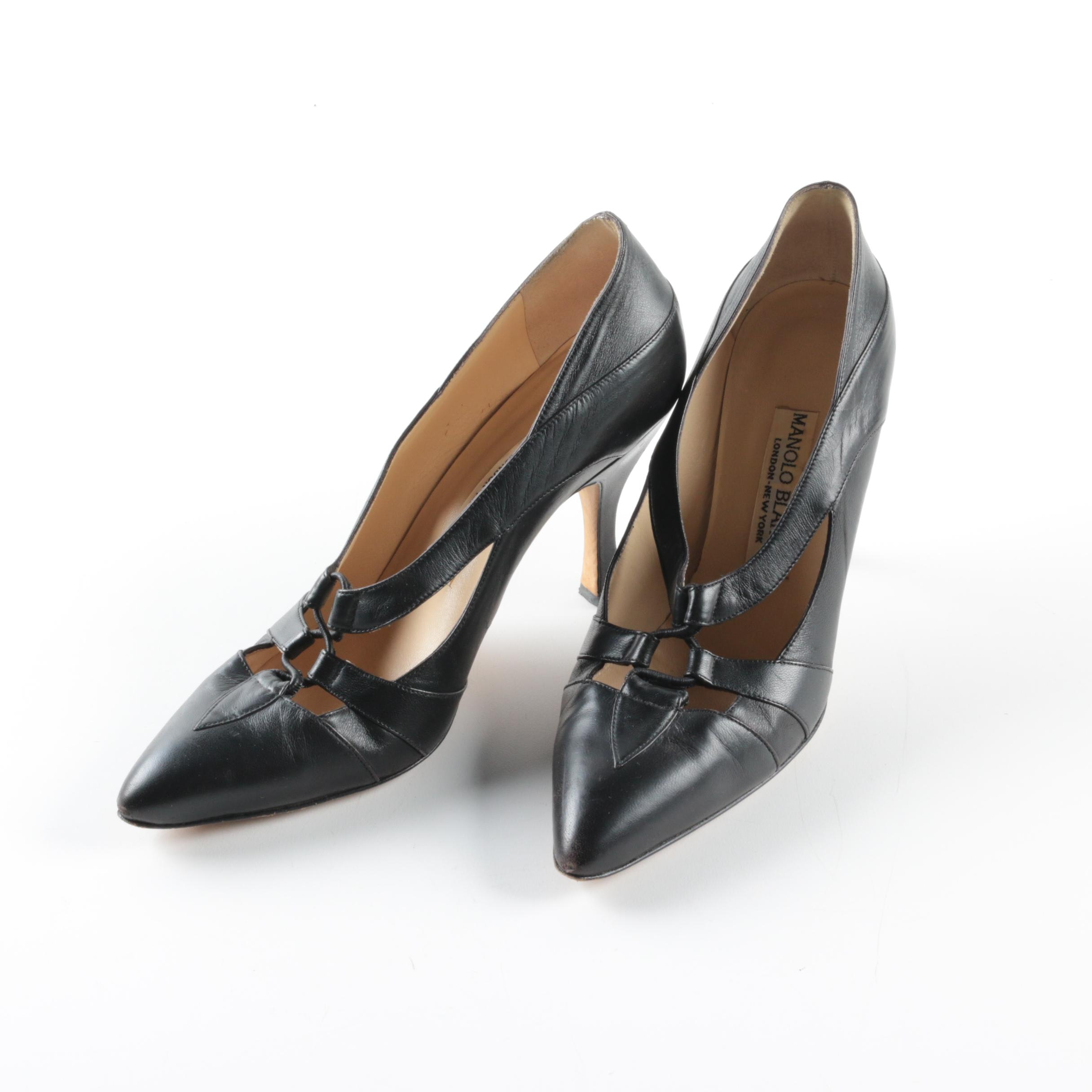 Manolo Blahnik Black Leather High-Heeled Shoes