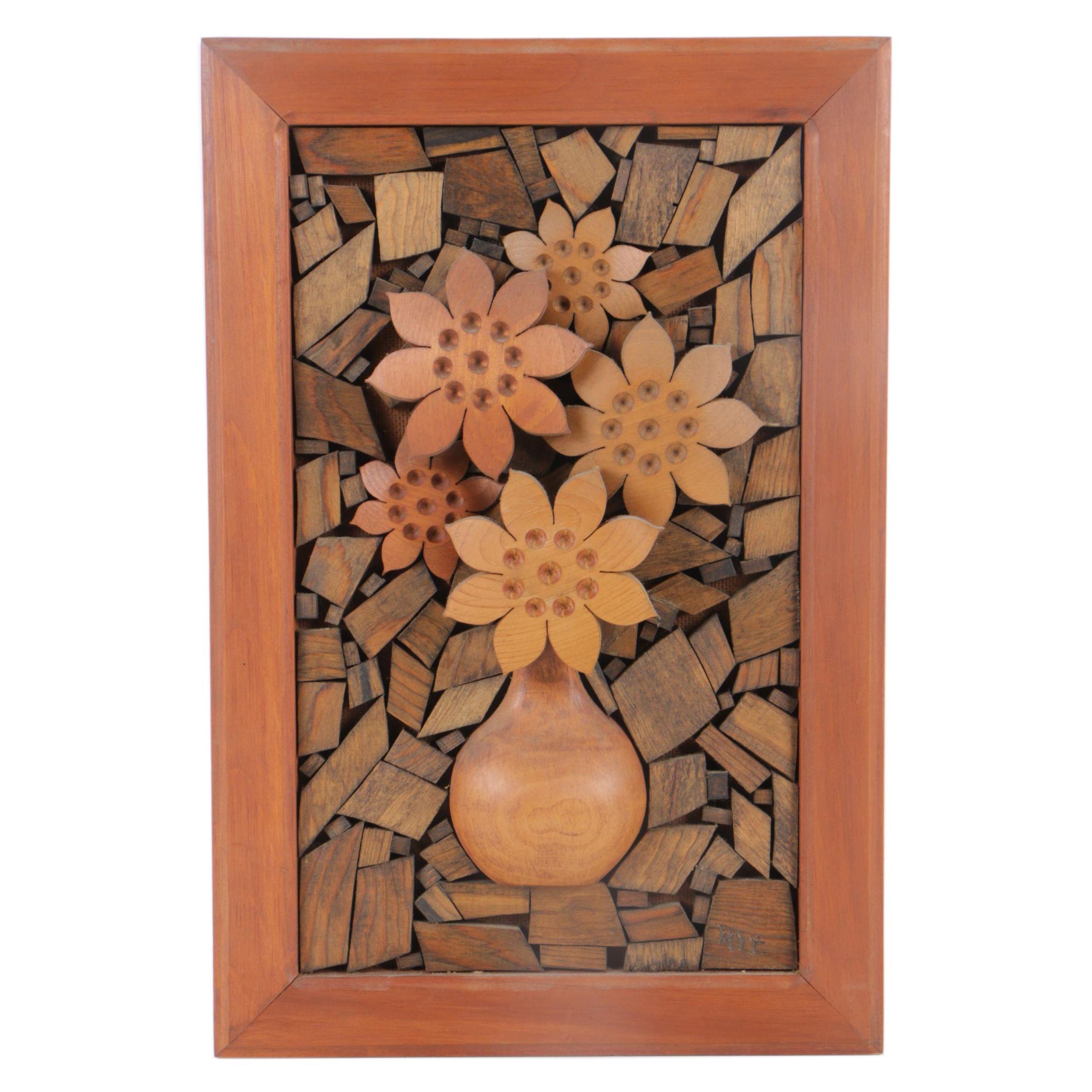 Late 20th Century Wood Mosaic Art