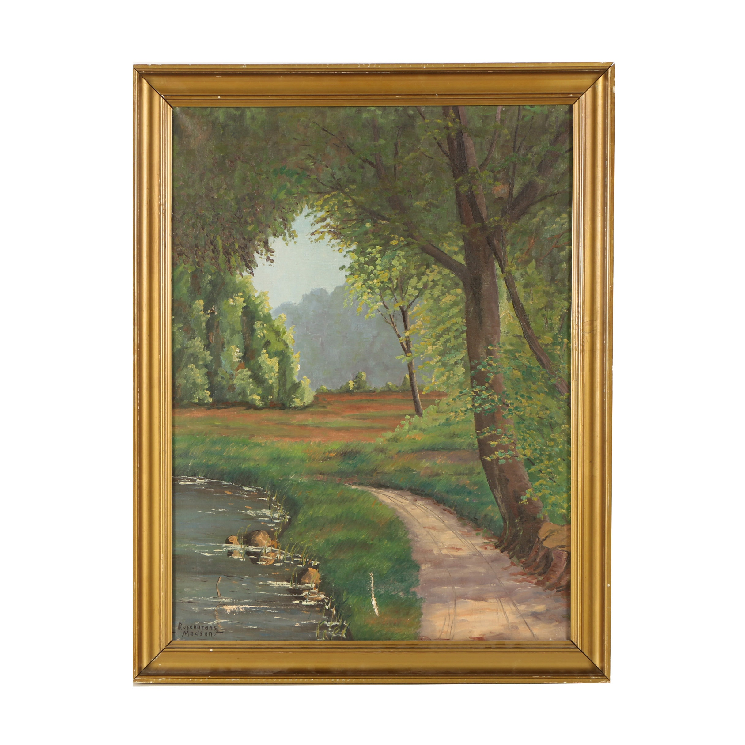 Rosenkrans Madsen Oil on Canvas of Wooded Path