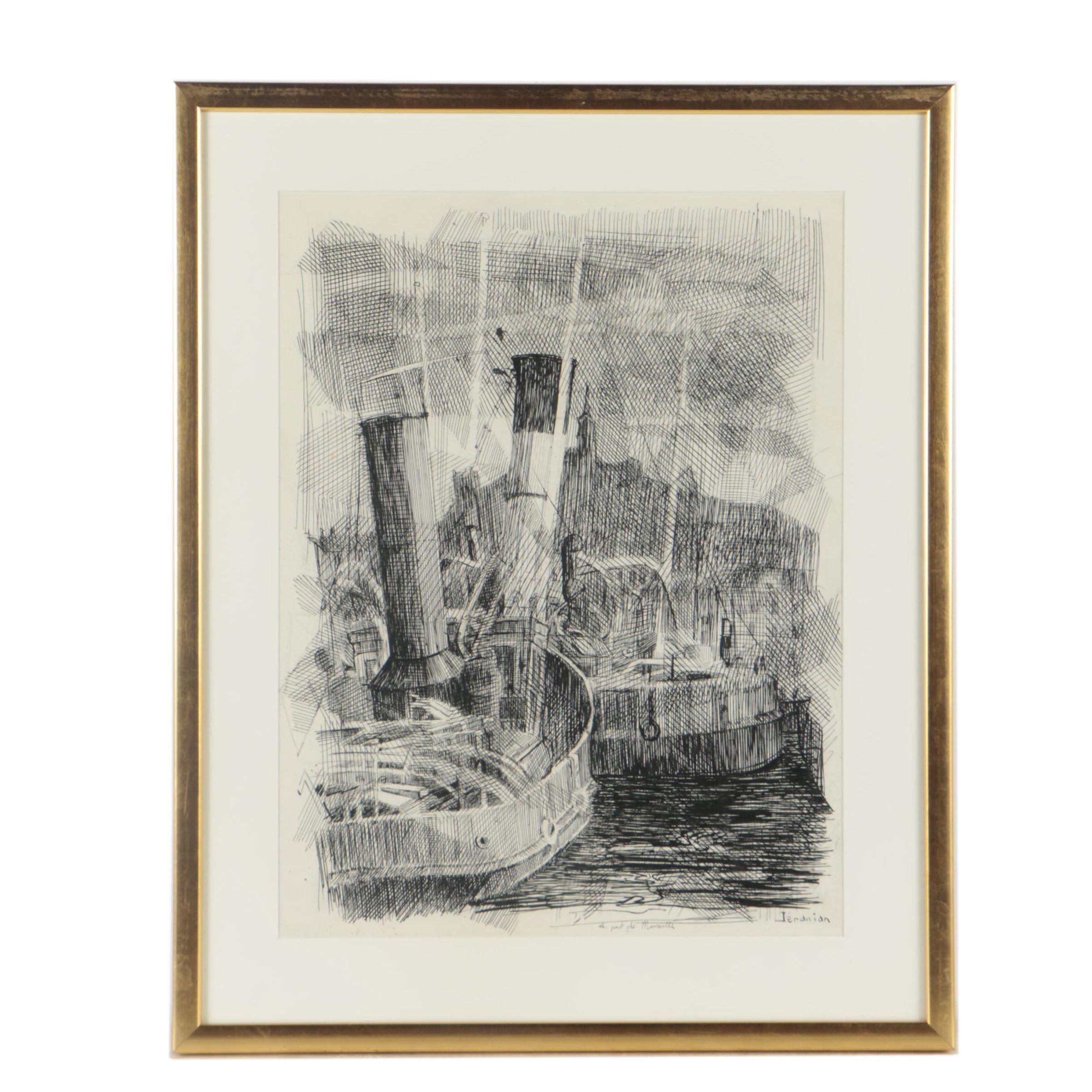 "Richard Jeranian Pen and Ink Drawing ""Le Port de Marseille"""