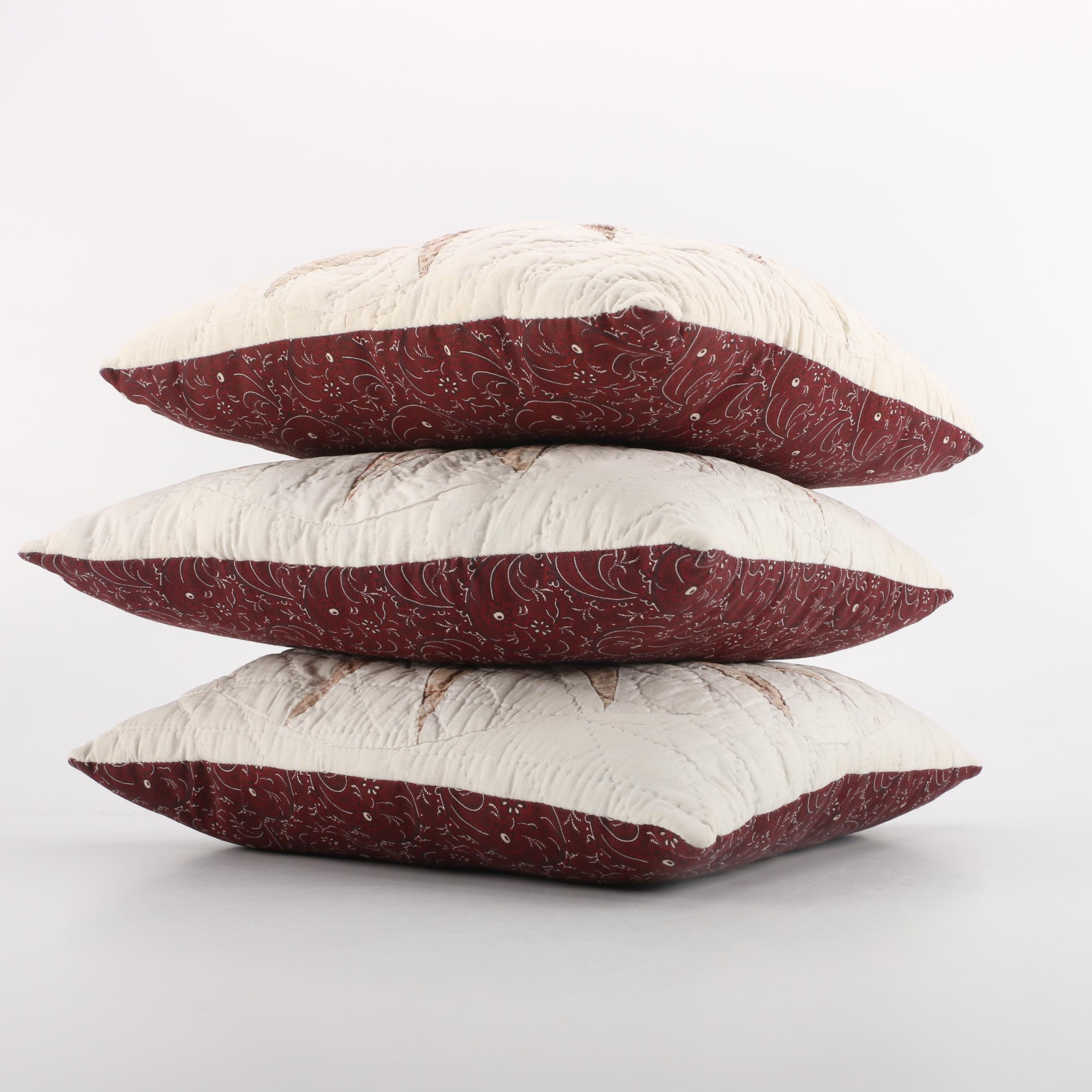 Three Pillows with Vintage Quilt Square Fronts
