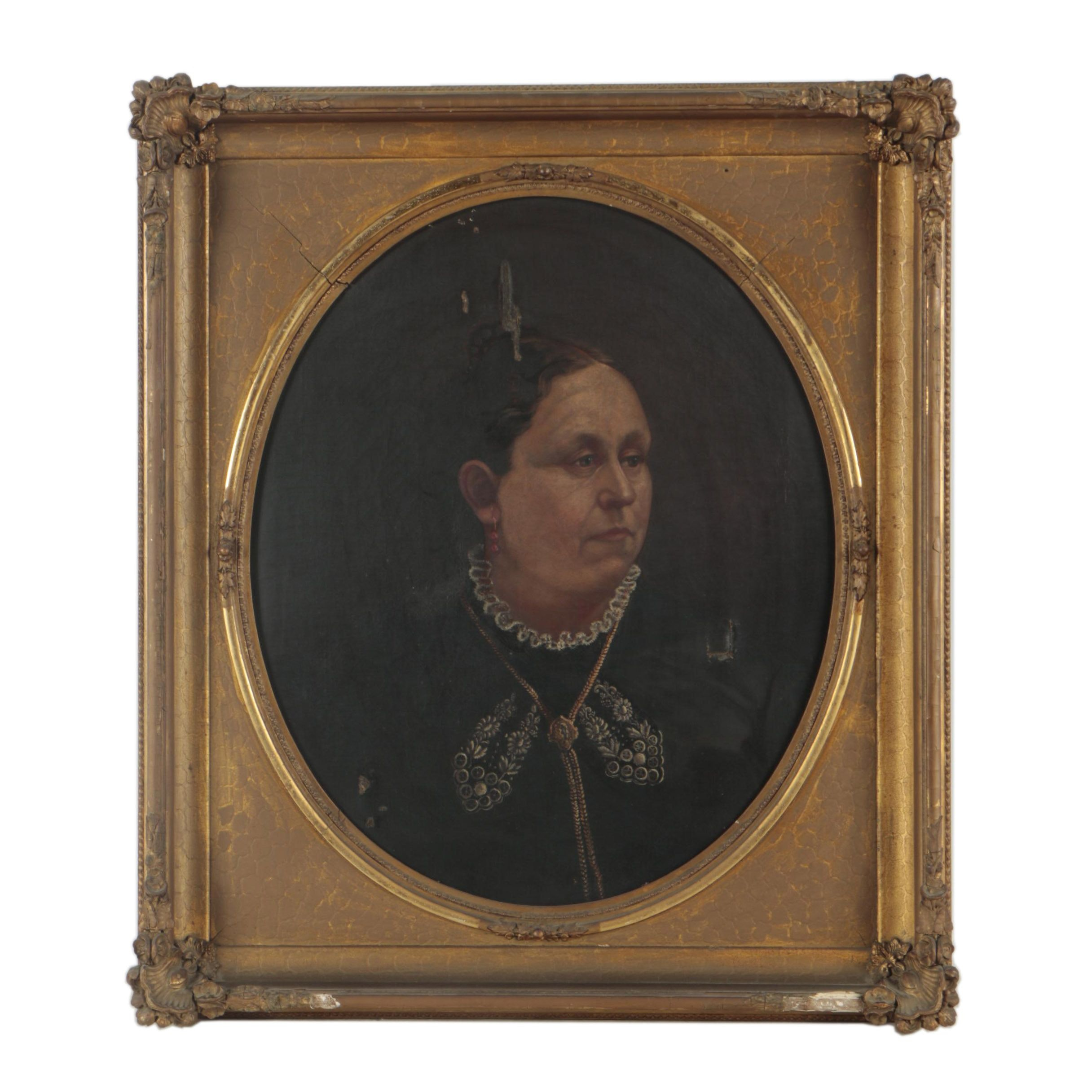 Mid-to-Late 19th-Century Oil Portrait of Woman with Ruffled Collar