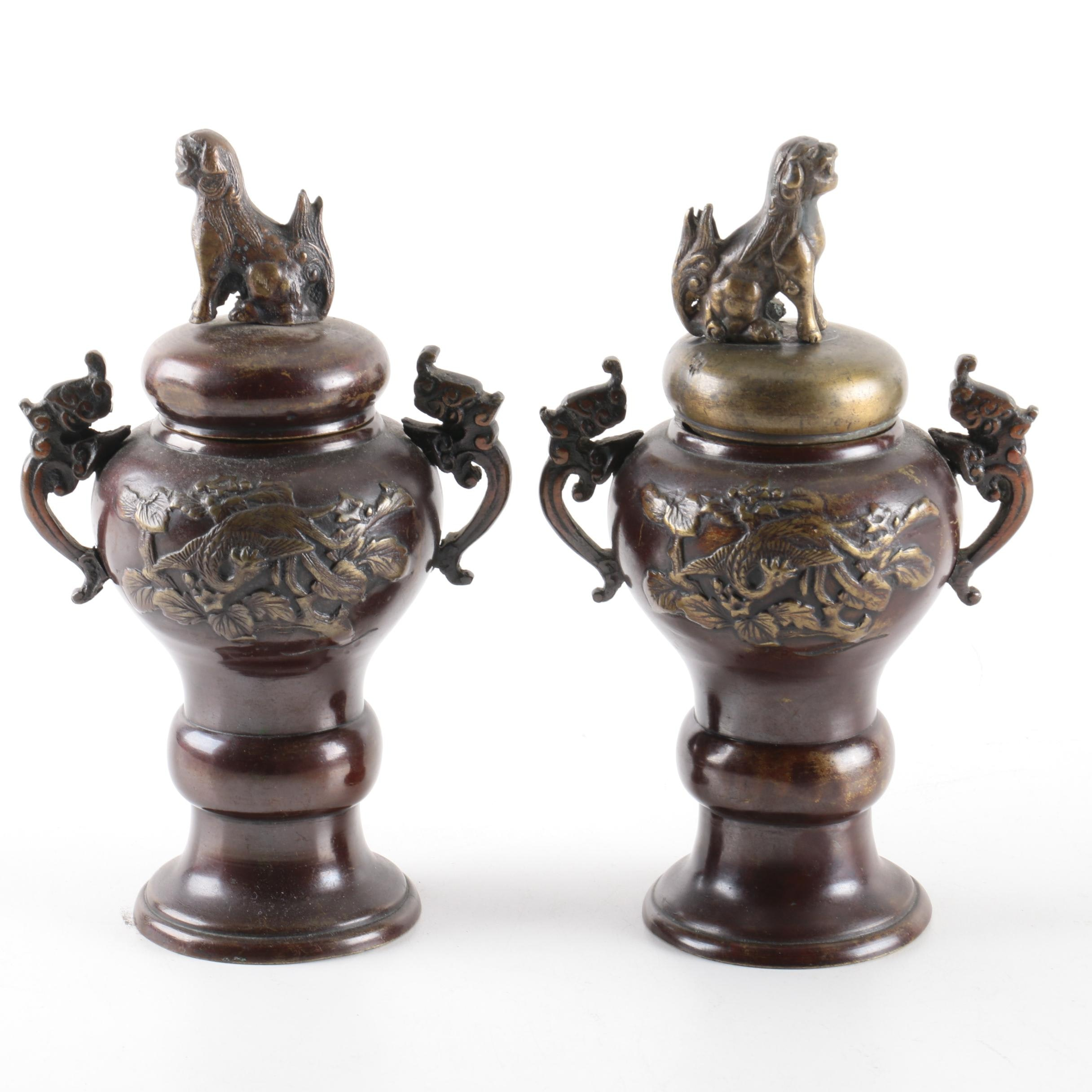 Pair of Chinese Brass Lidded Urns