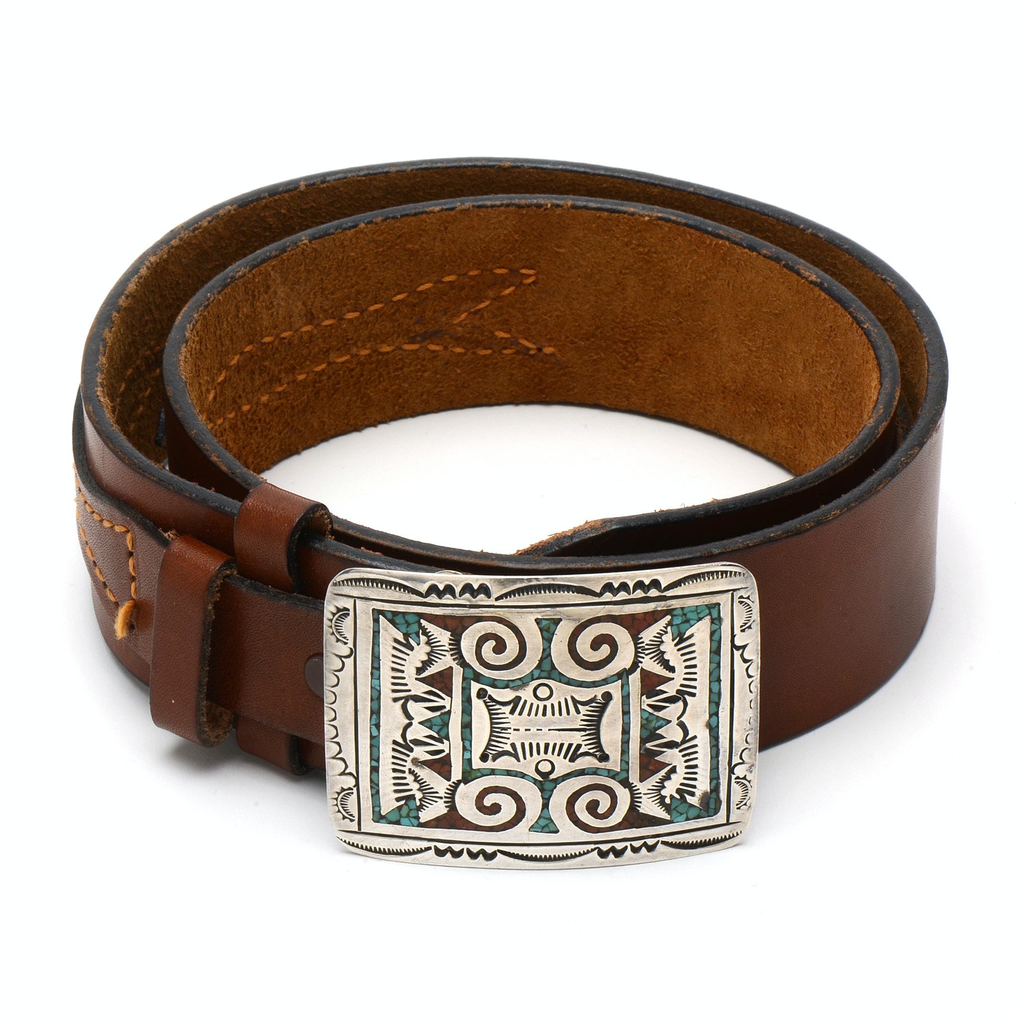 Southwest 800 Silver Dyed Chip Cowhide Leather Belt