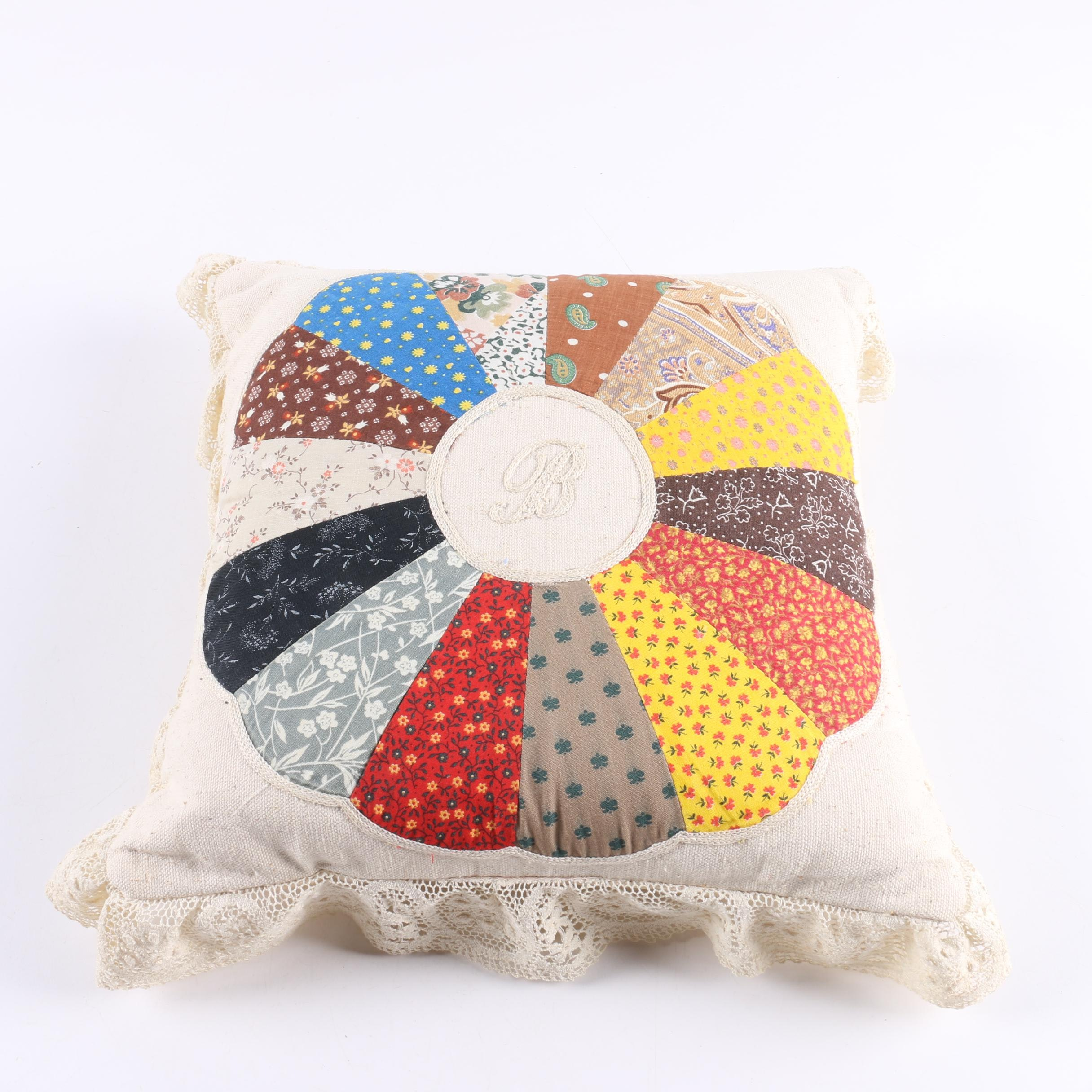 Patchwork Quilted and Lace Trimmed Accent Pillows