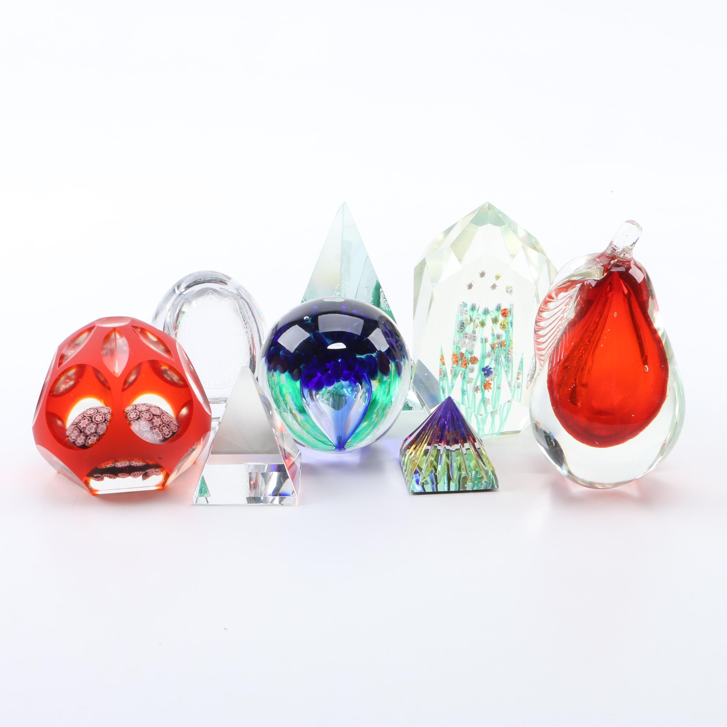 Art Glass Paperweights Including Tyrone Crystal
