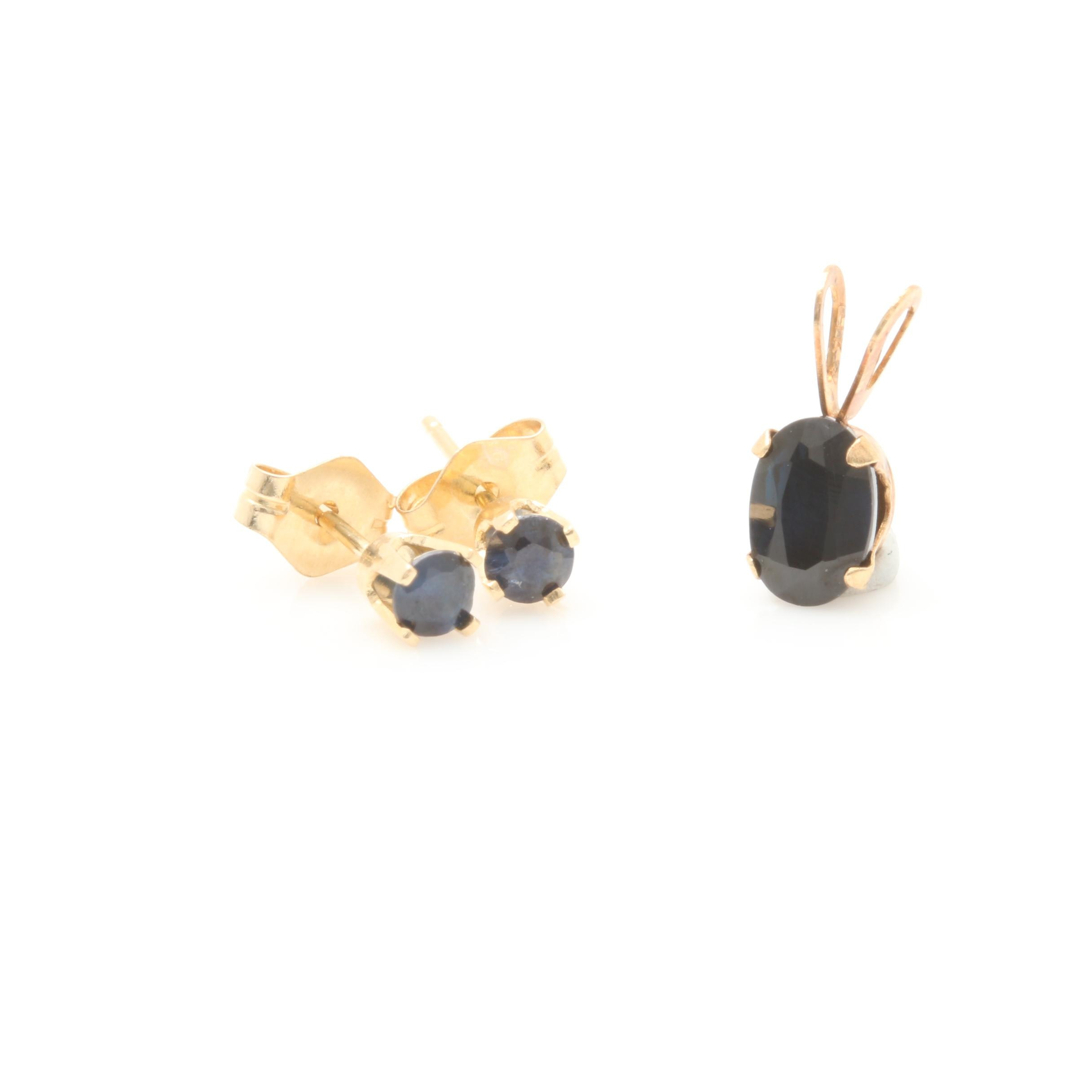 14K Yellow Gold Blue Sapphire Pendant and Earring Selection