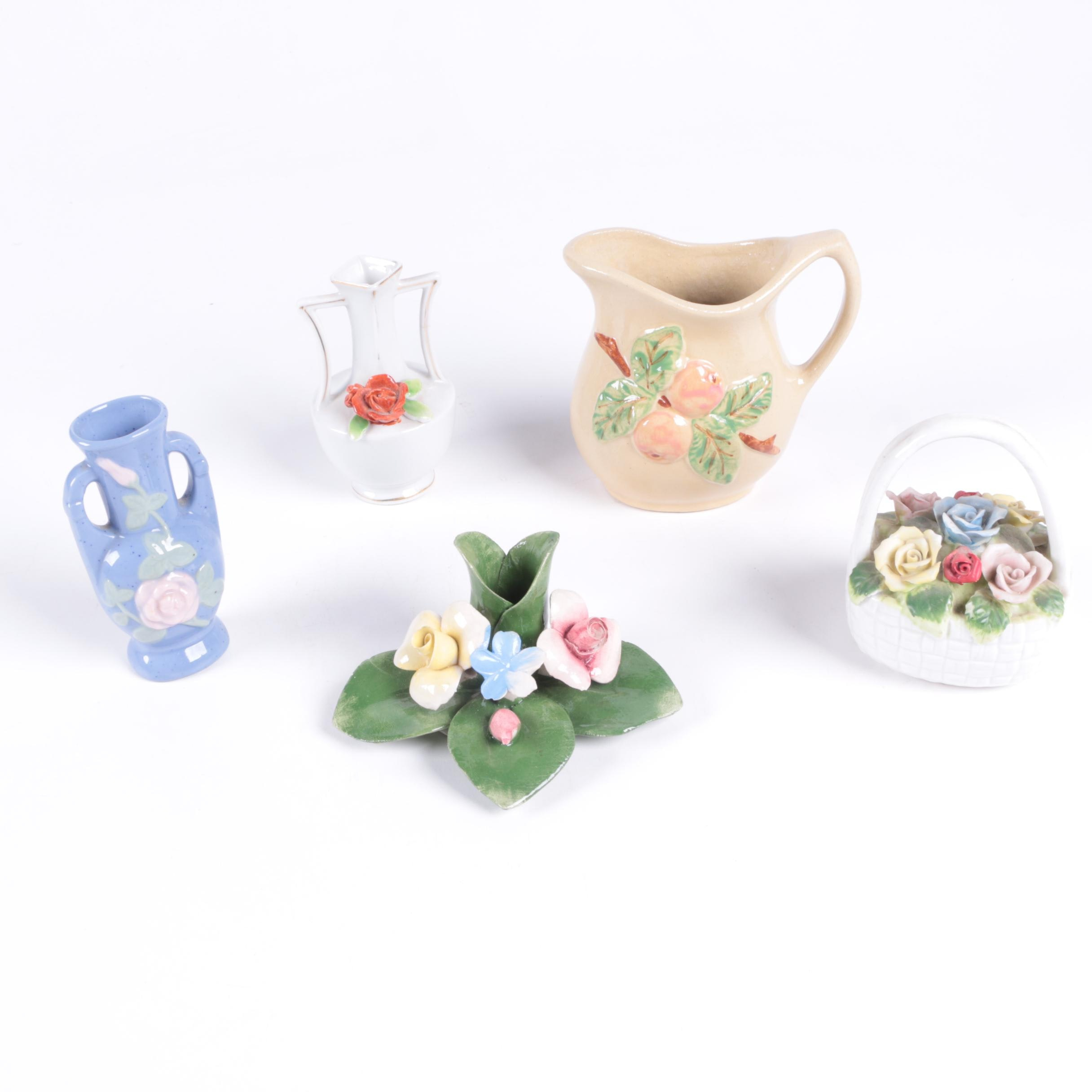 Floral Themed Vases and Decor including Occupied Japan