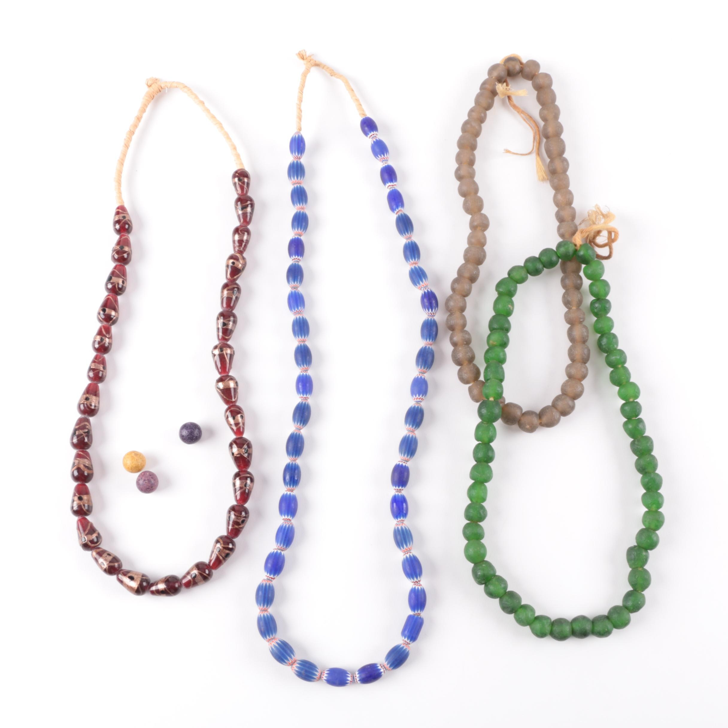 African Glass Trade Bead Hanks Including Chevron and Venetian Style Beads