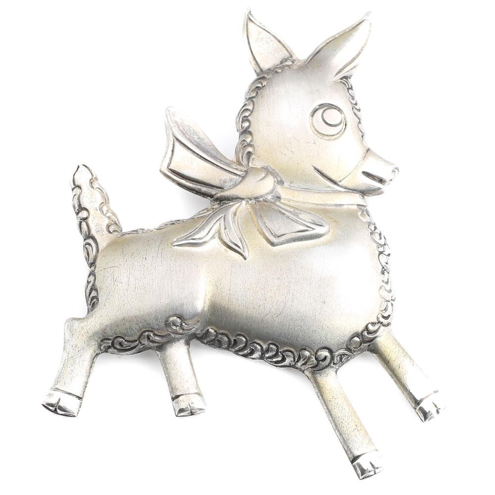Vintage TRUART Sterling Silver Donkey Brooch