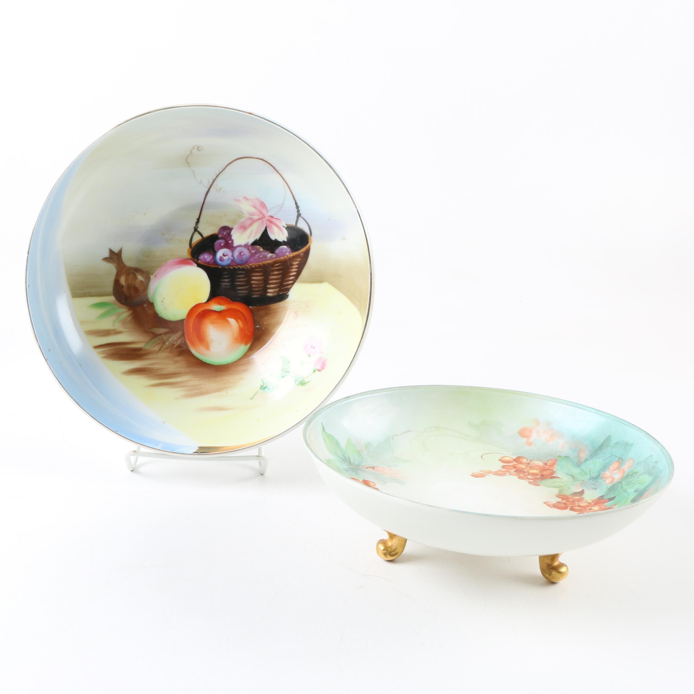 Antique Hobbyist Painted Porcelain Bowls