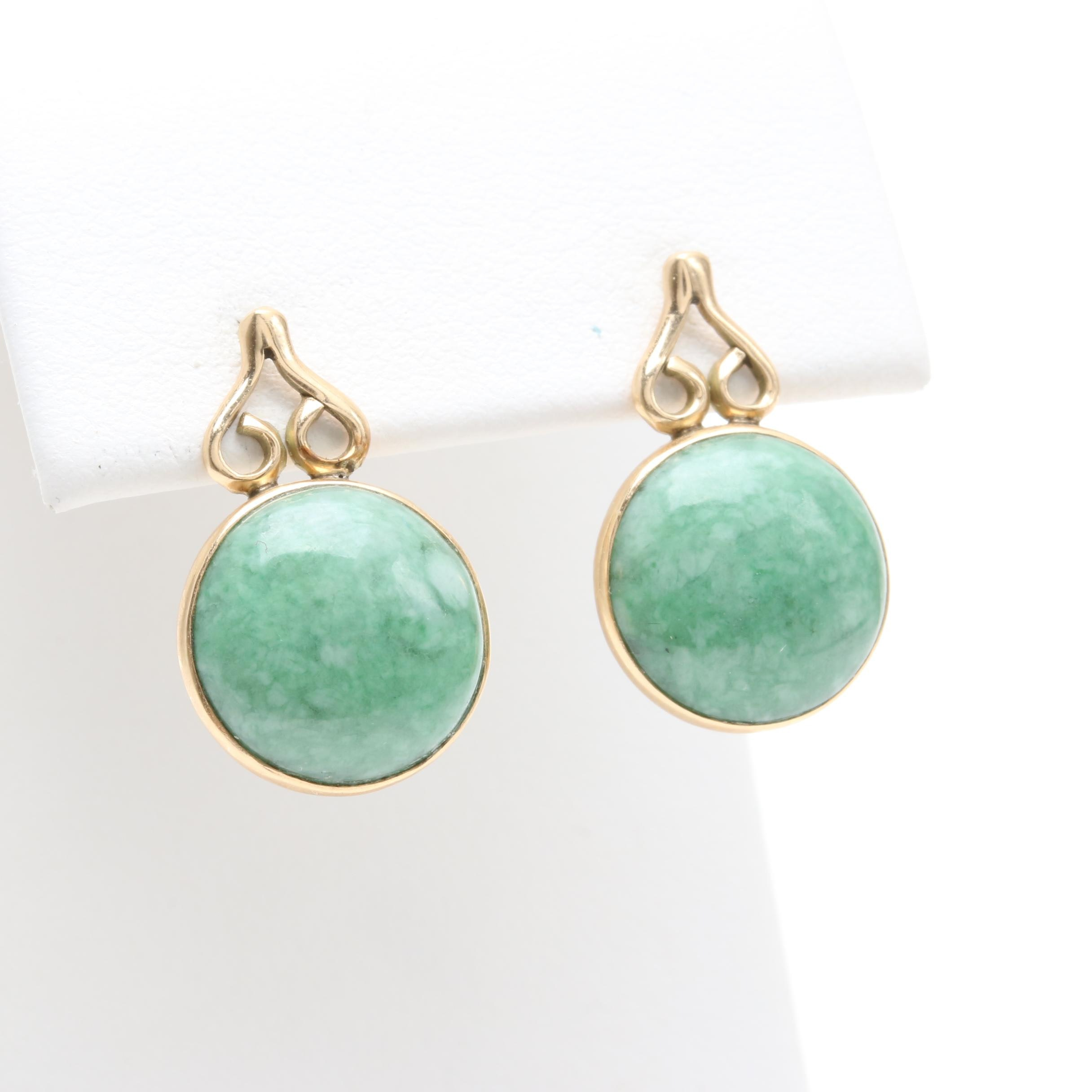 14K Yellow Gold Dyed Jadeite Earrings