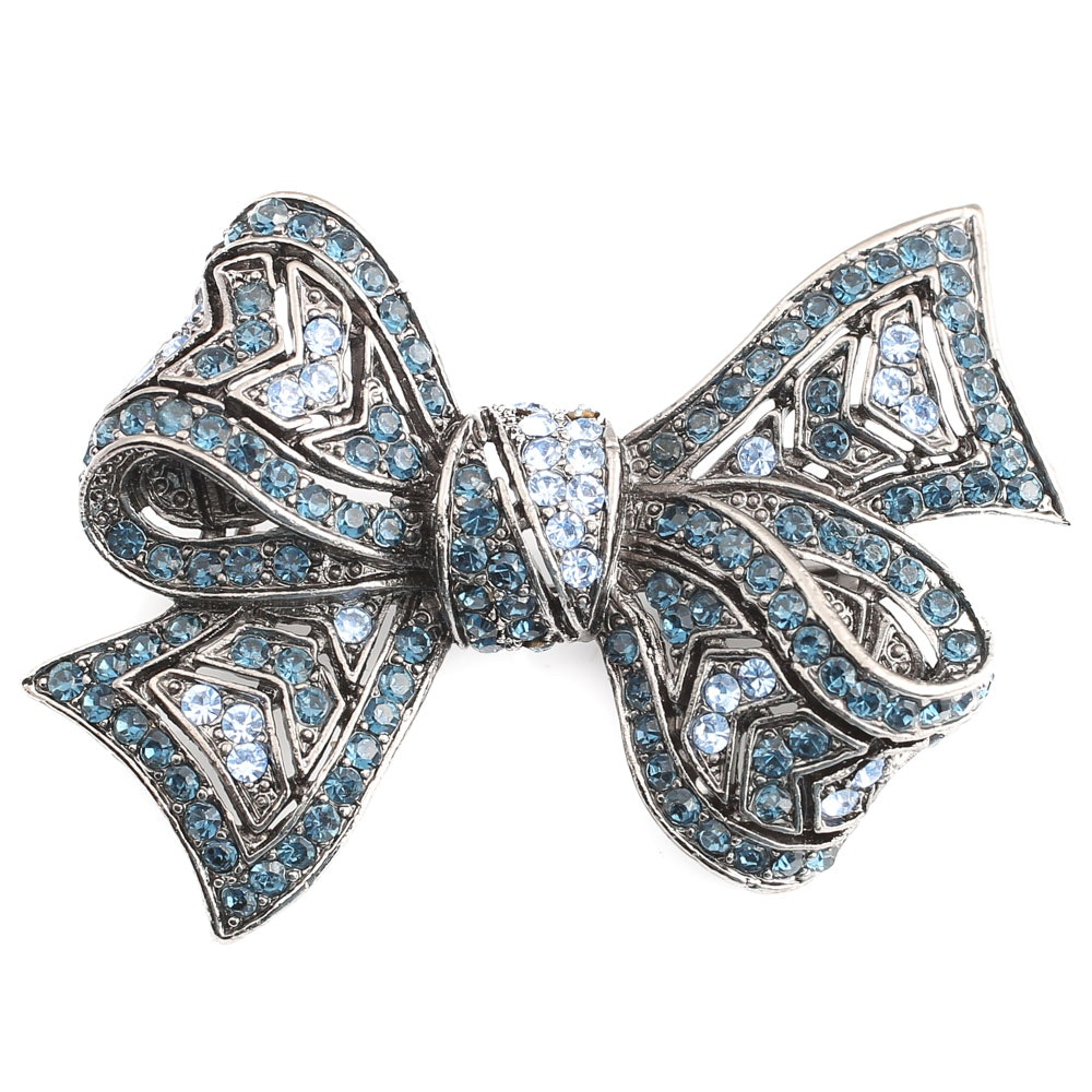 Vintage Blue Stone and Gun Metal Bow Brooch