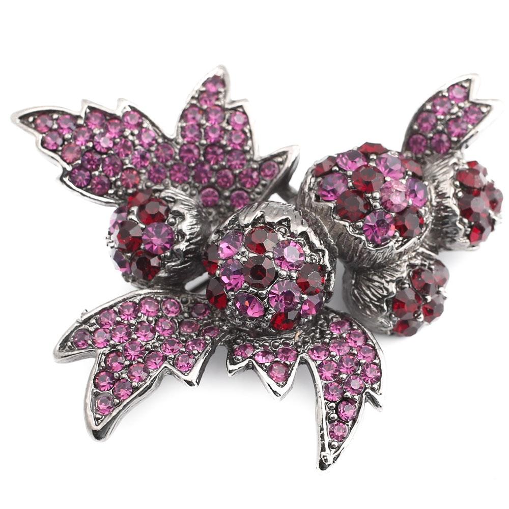 Vintage Purple Stone Floral Brooch