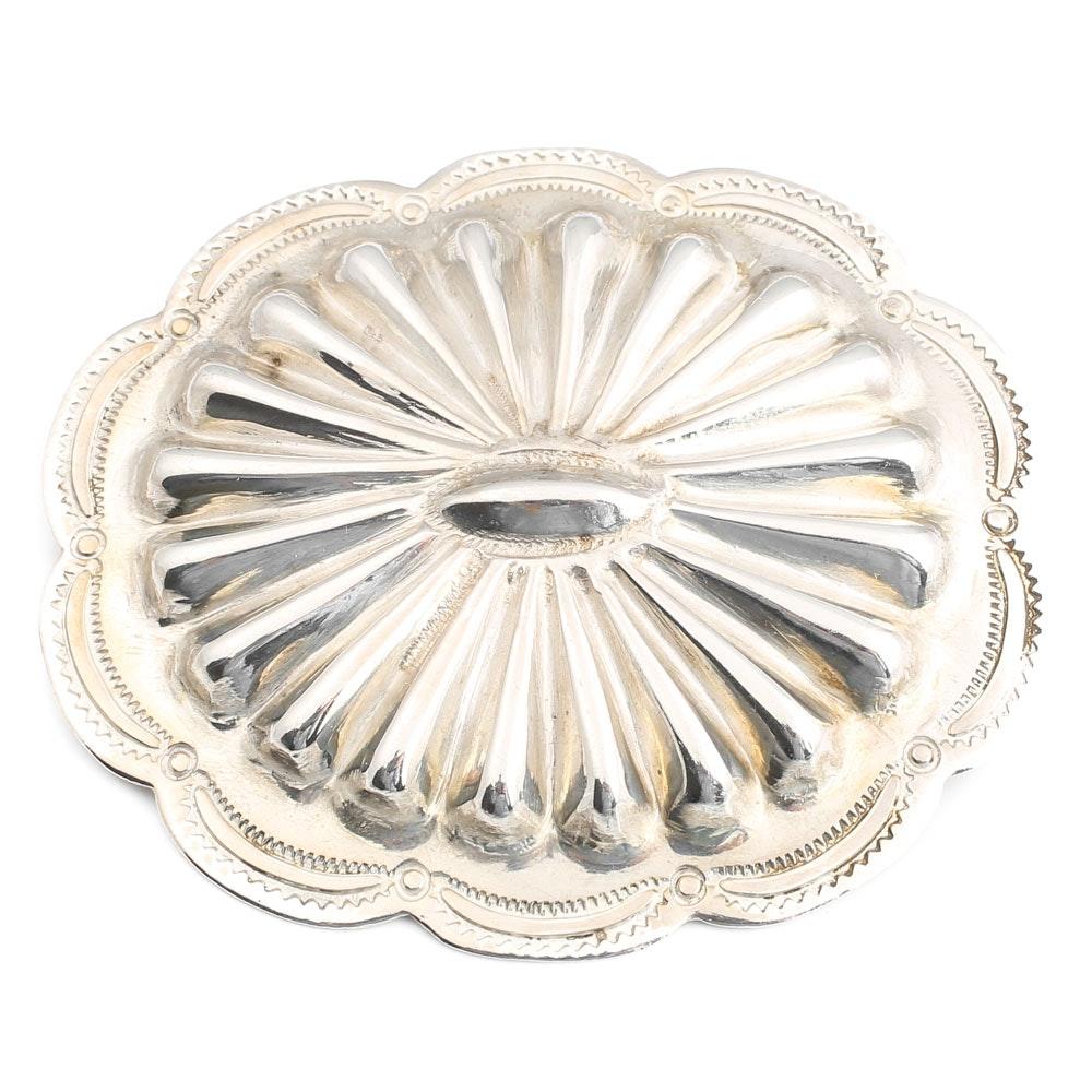 Vintage Sterling Silver Medallion Brooch