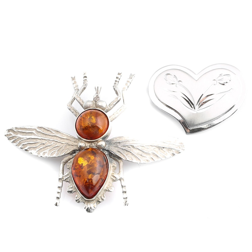 Vintage Beau Sterling Silver Heart Pin and Amber Insect Brooch