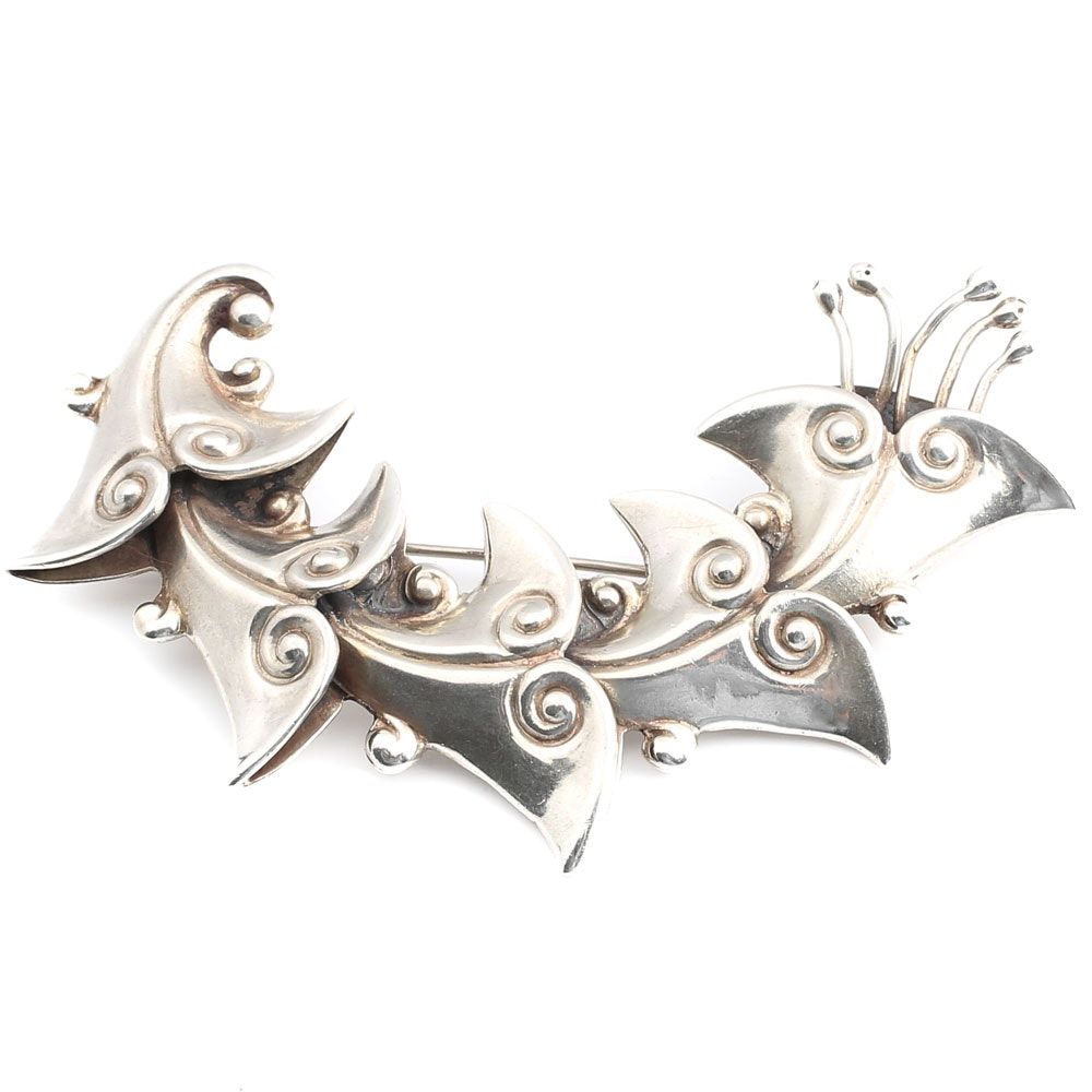 Vintage Los Castillo Taxco Mexican Sterling Silver Whimsical Floral Pin