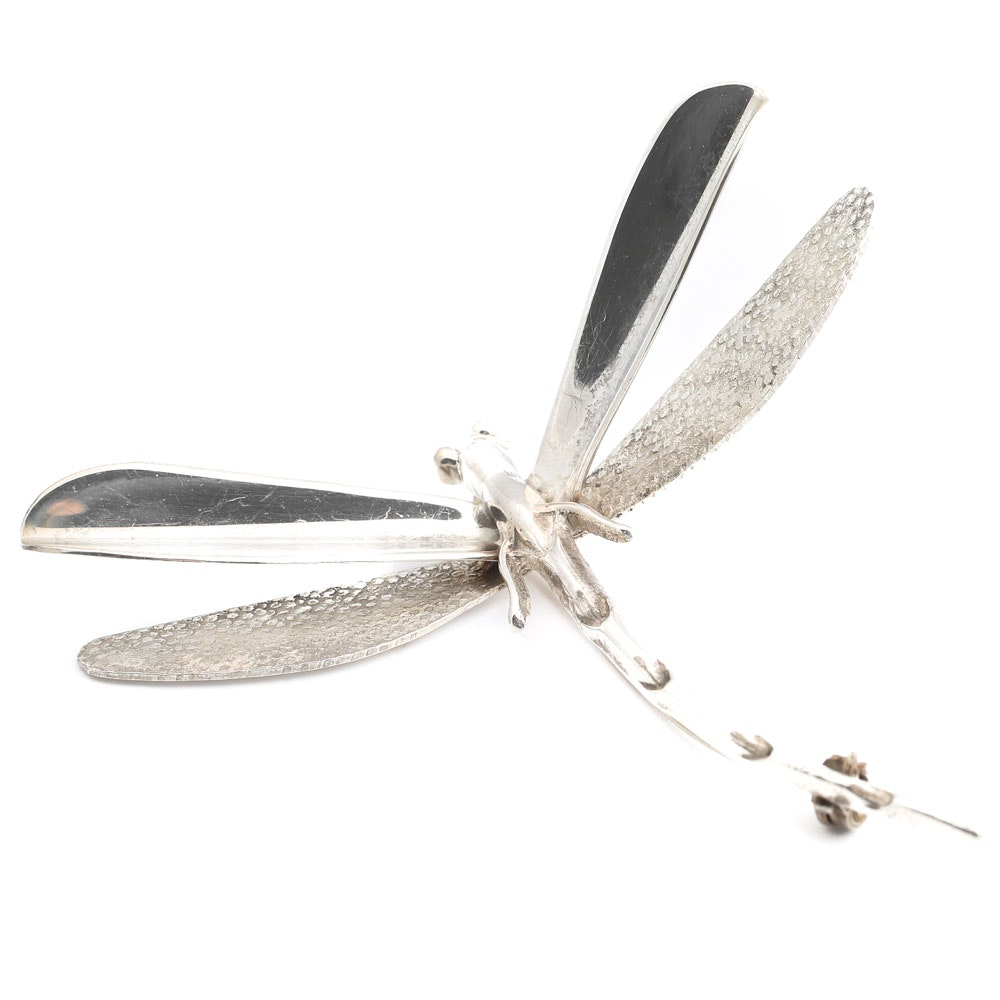 Vintage Taxco Sterling Silver Dragonfly Pin