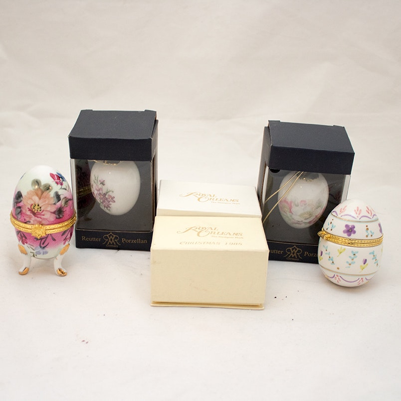 Porcelain Decorative Eggs Featuring Reutter Porzellan and Royal Orleans