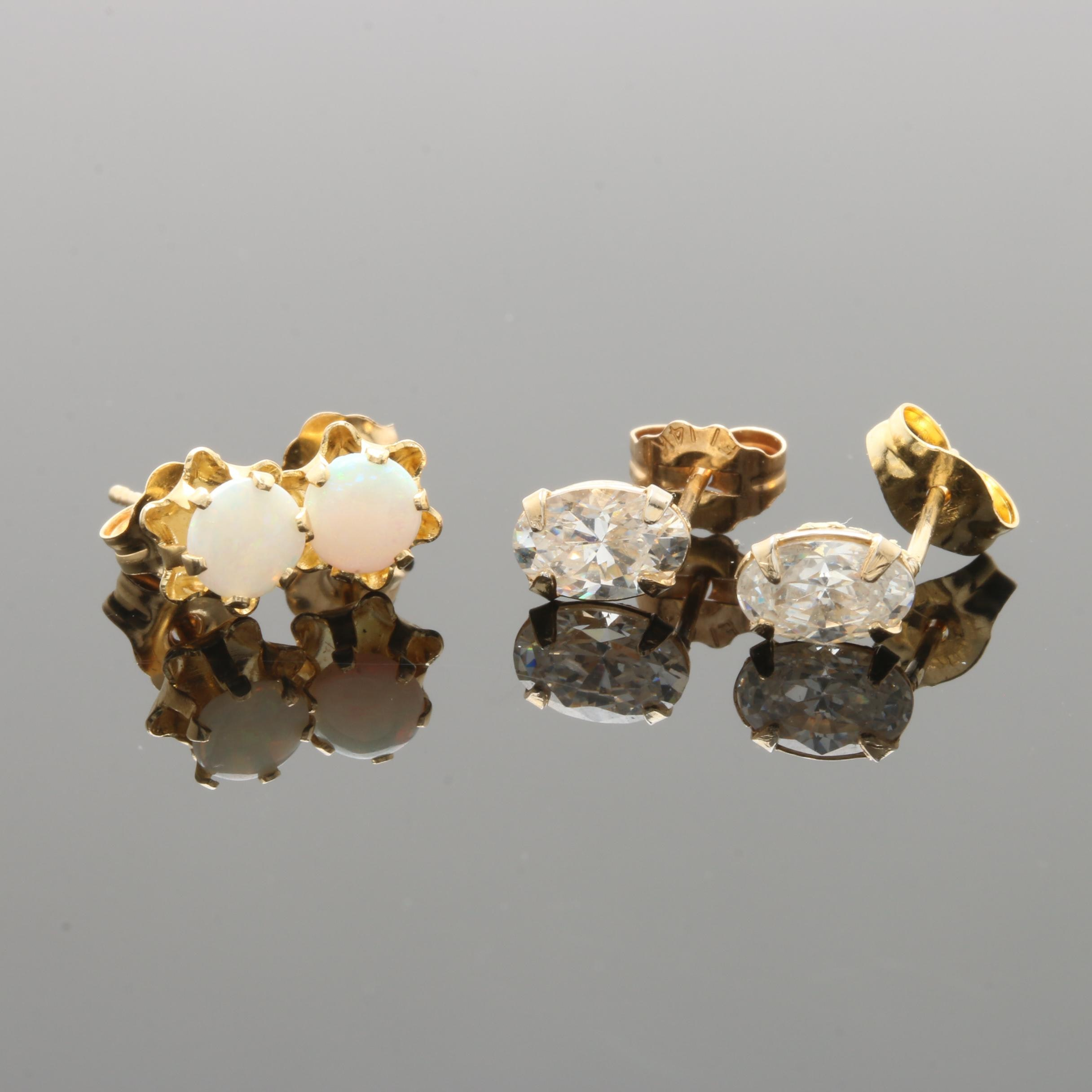 14K Yellow Gold Opal and Cubic Zirconia Stud Earrings