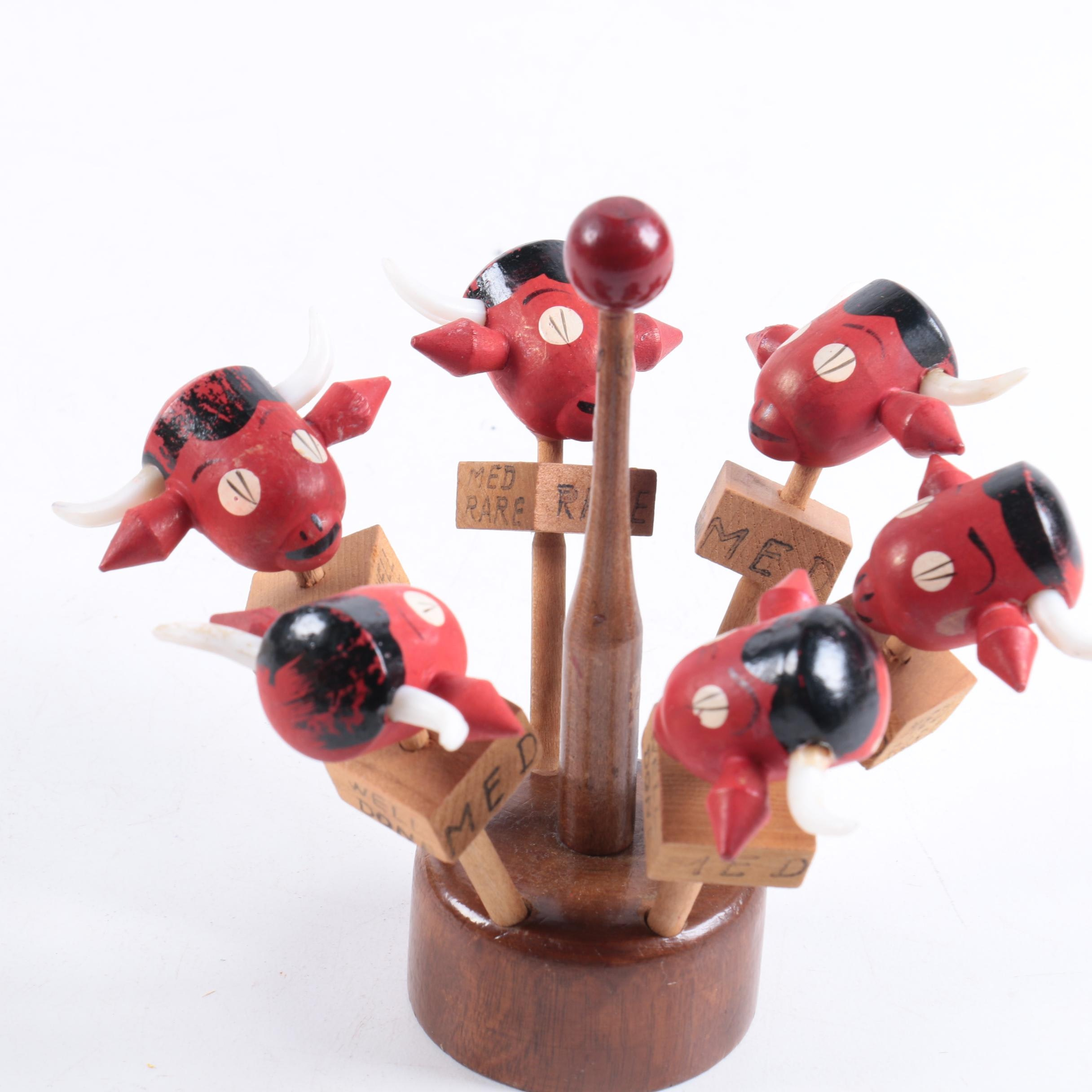 Wooden Cow Motif Skewers With Holder