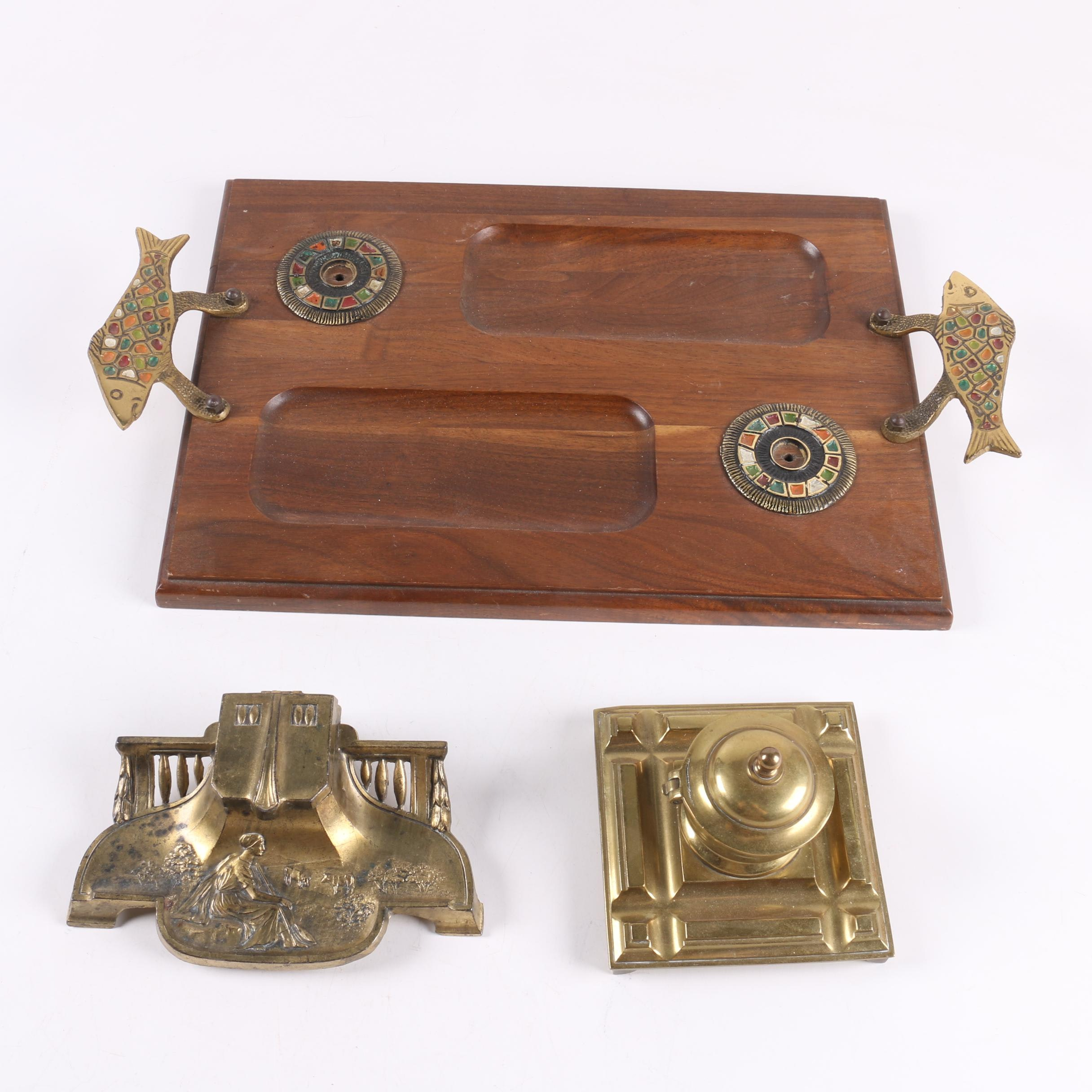 Desk Accessories Including Vintage Inkwells