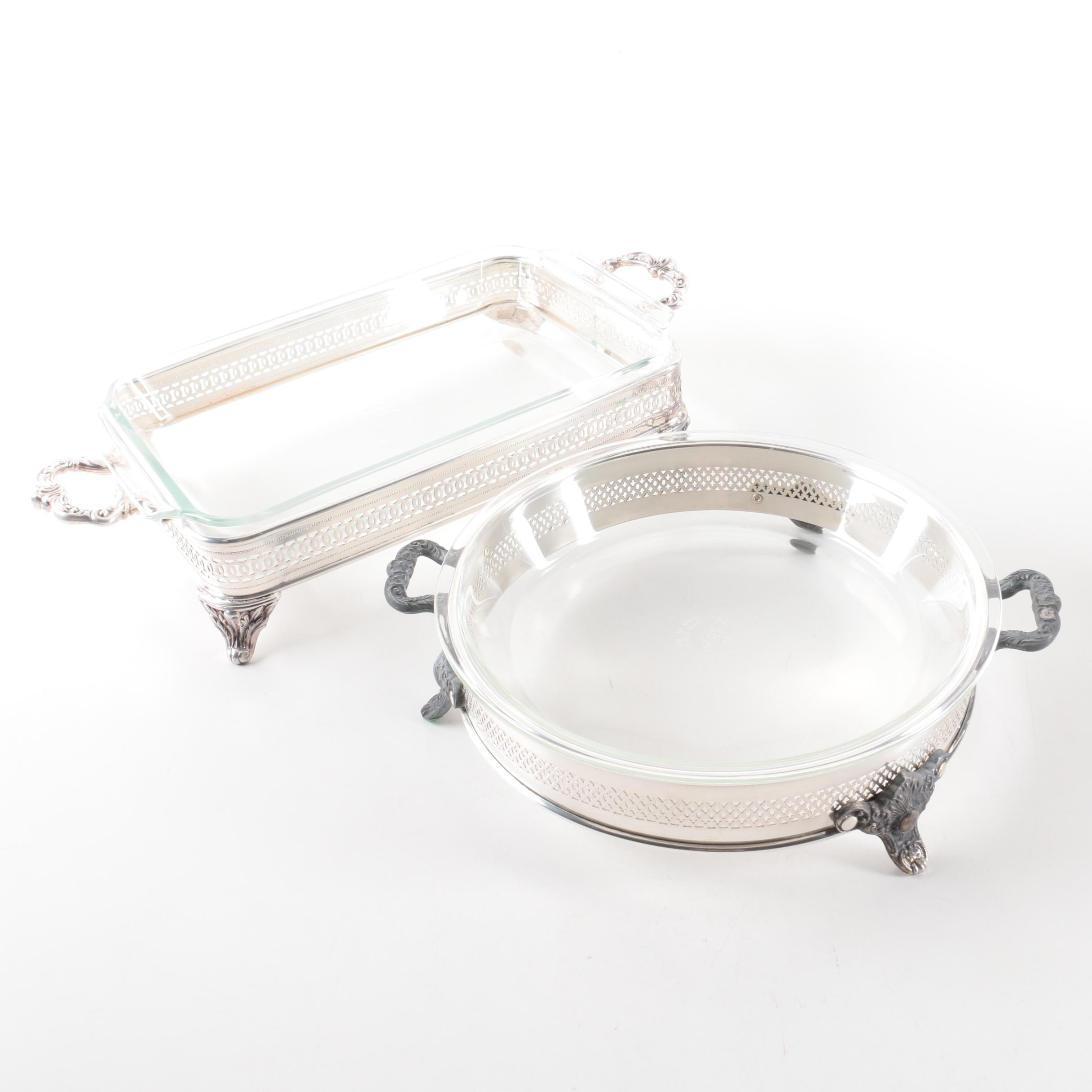Silver Plate Chafing Dishes with Glass Inserts
