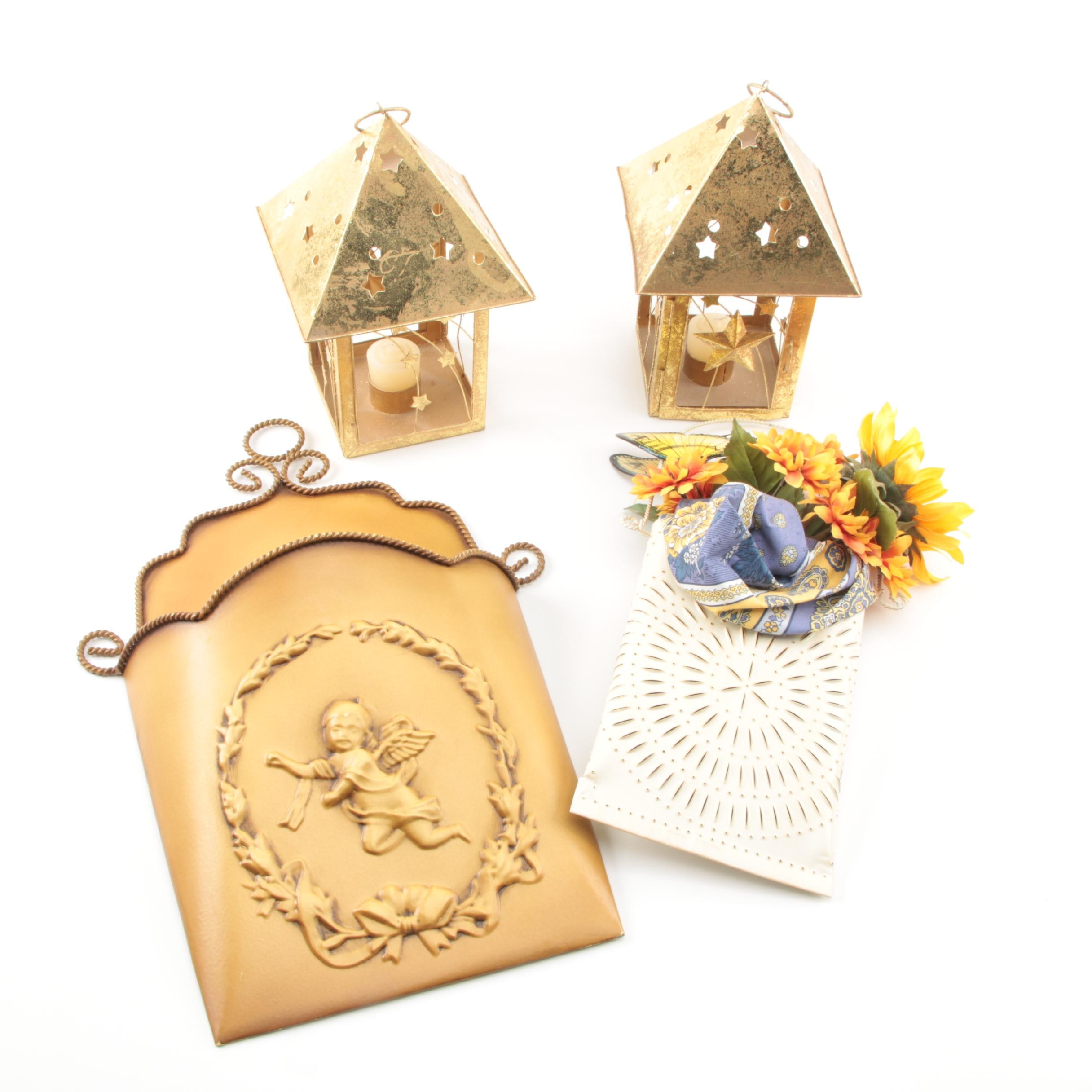 Metal Candle Holders and Wall Pockets