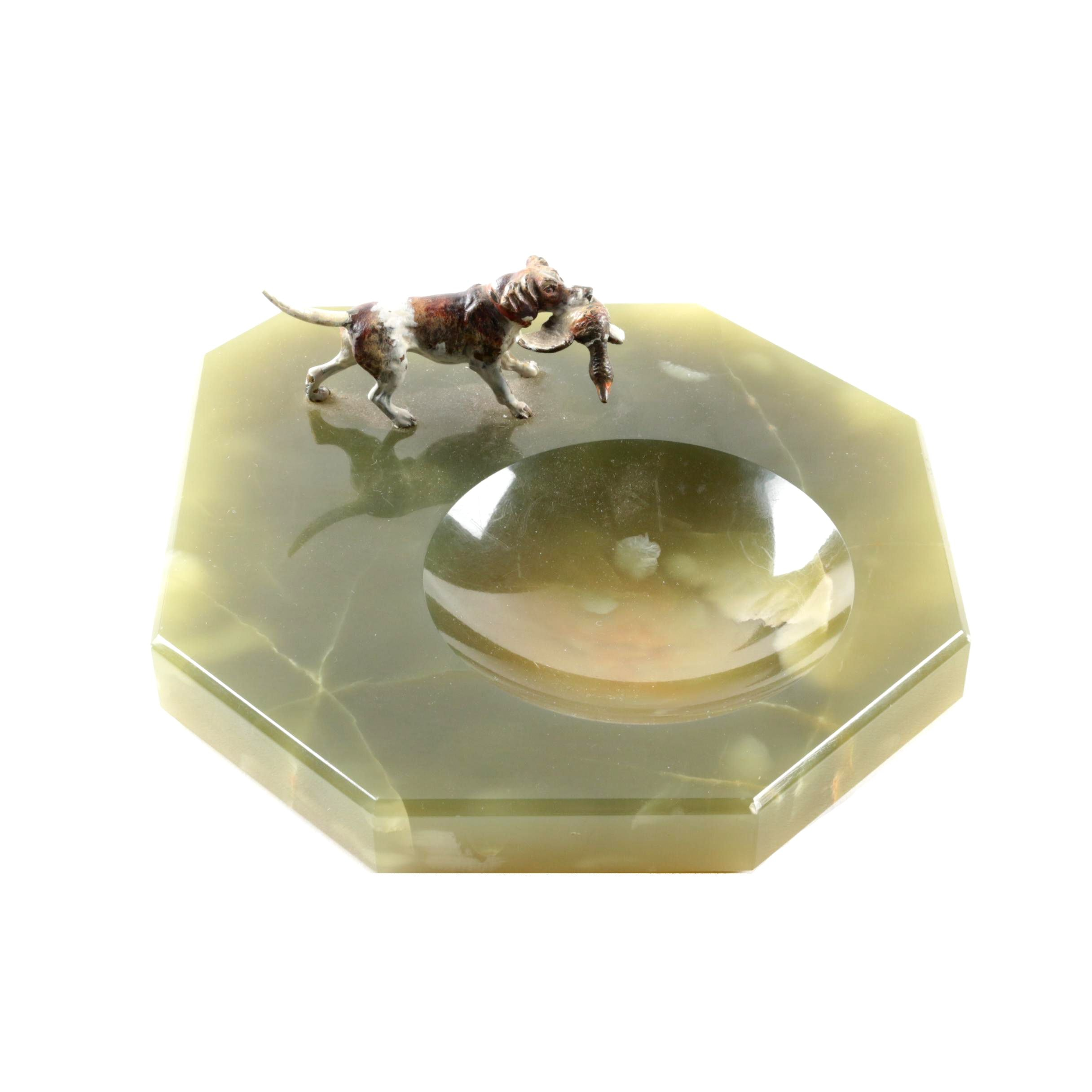 Green Calcite Trinket Dish with Hunting Dog Figurine