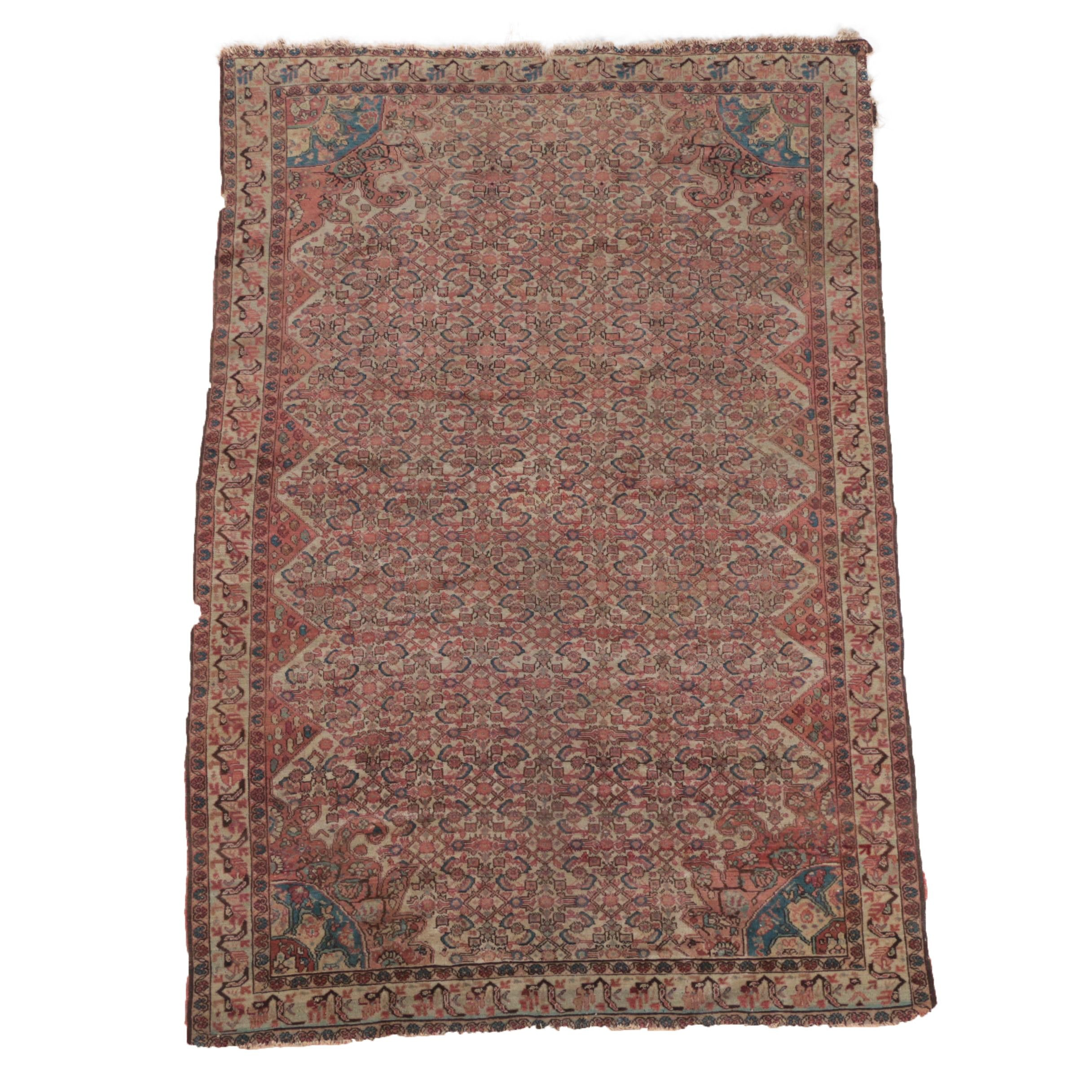 Semi-Antique Hand-Knotted Persian Senneh Wool Area Rug