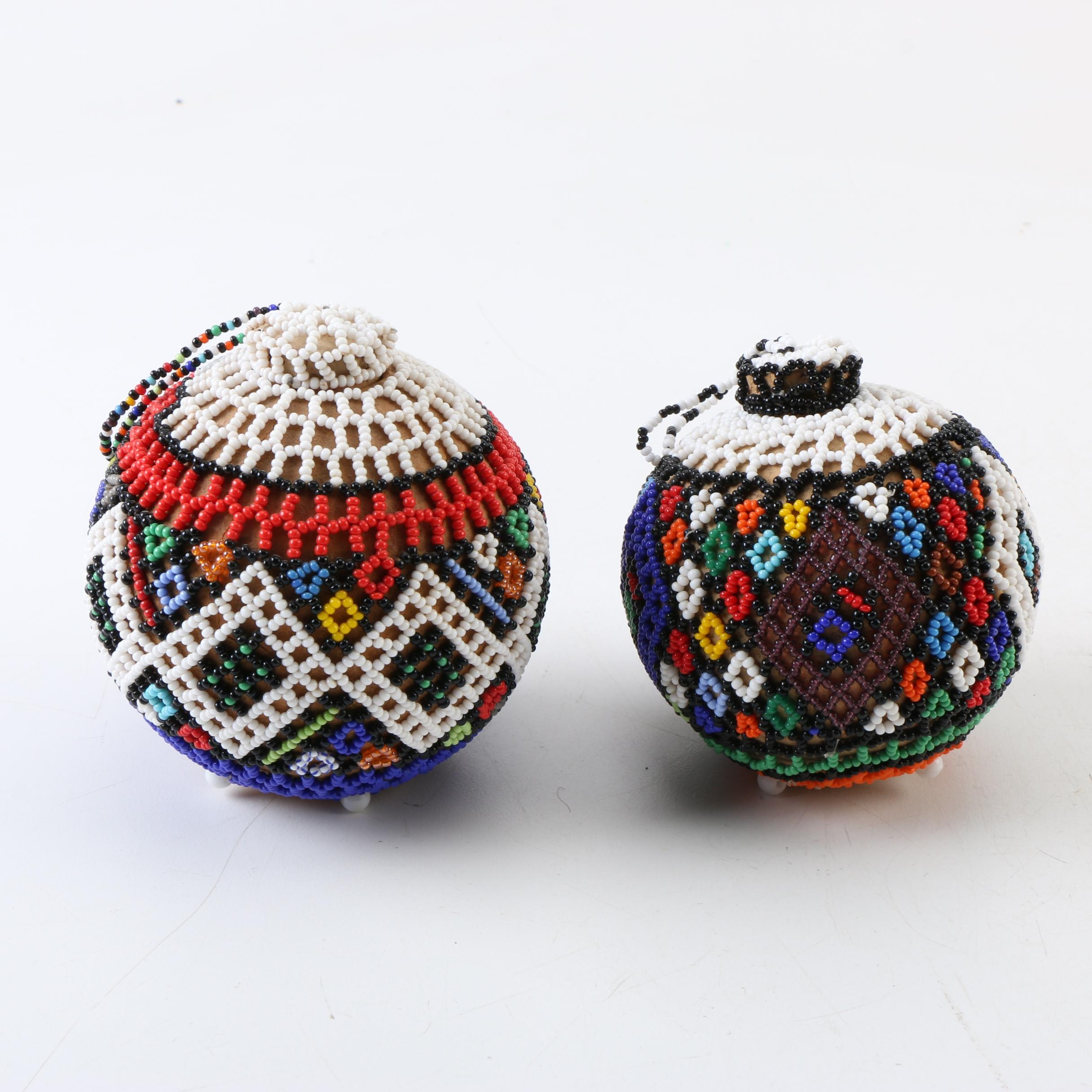 Southern African Beaded Gourd Bottles
