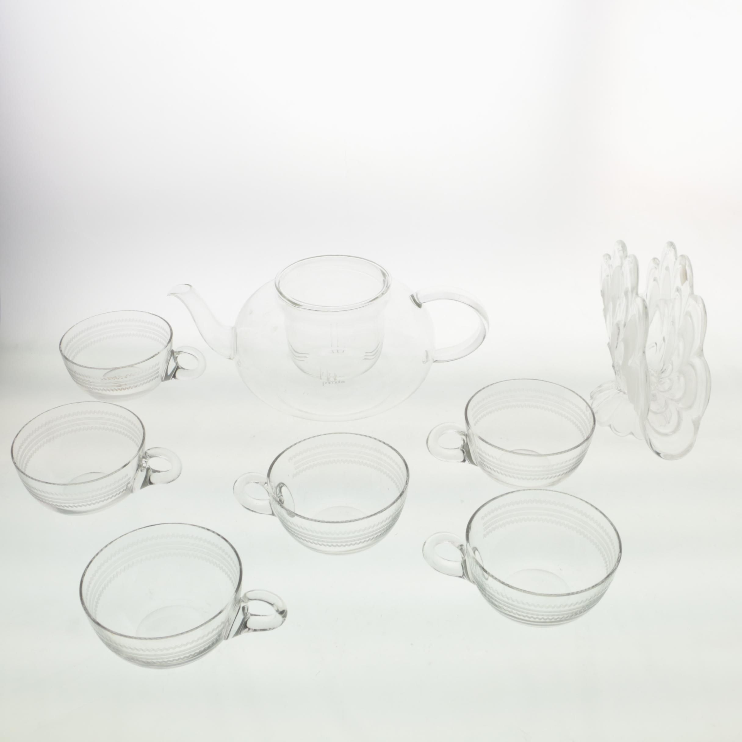 Glass Pedestal Napkin Holder with Cups and Teapot