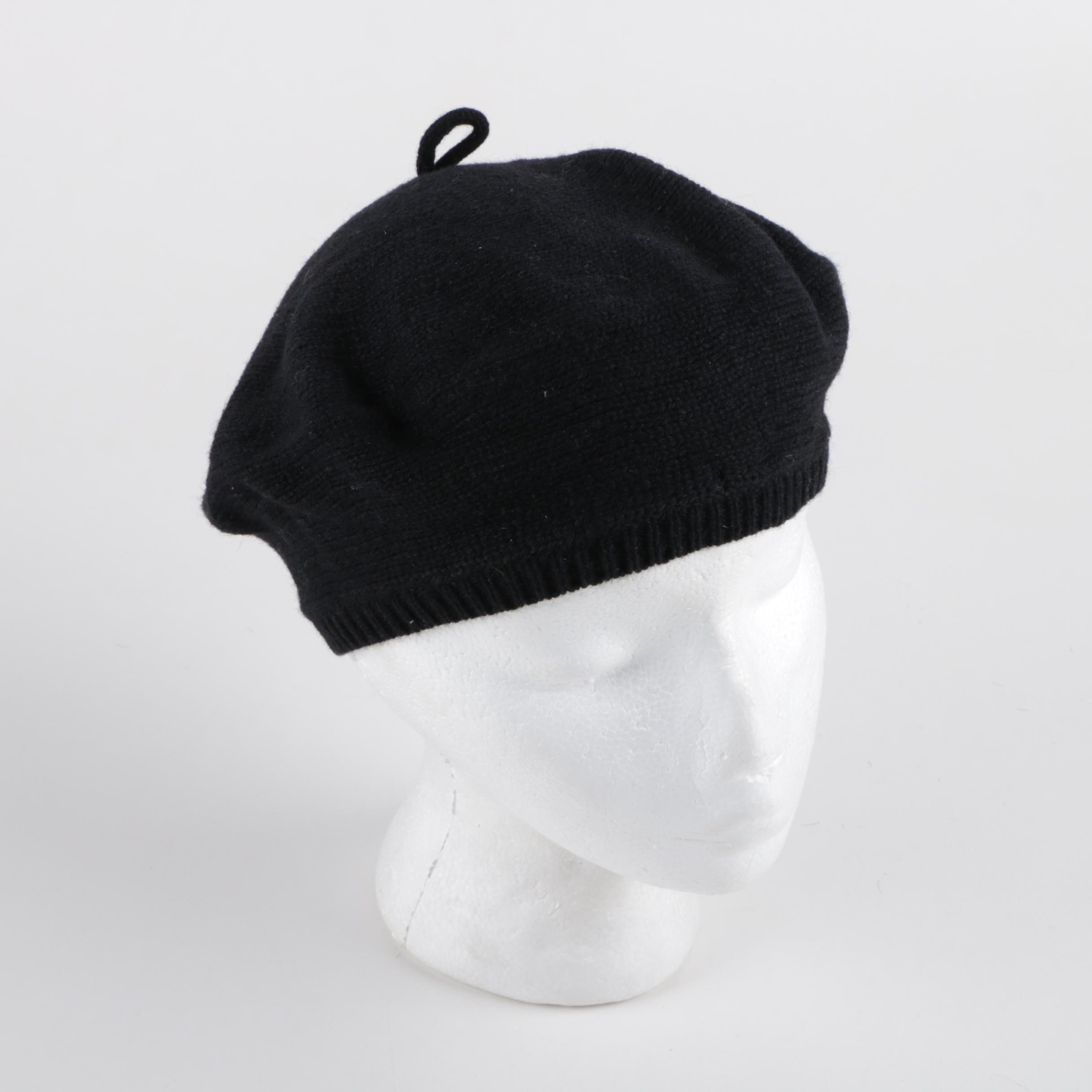Women's Yohji Yamamoto Black Wool Blend Knit Beanie