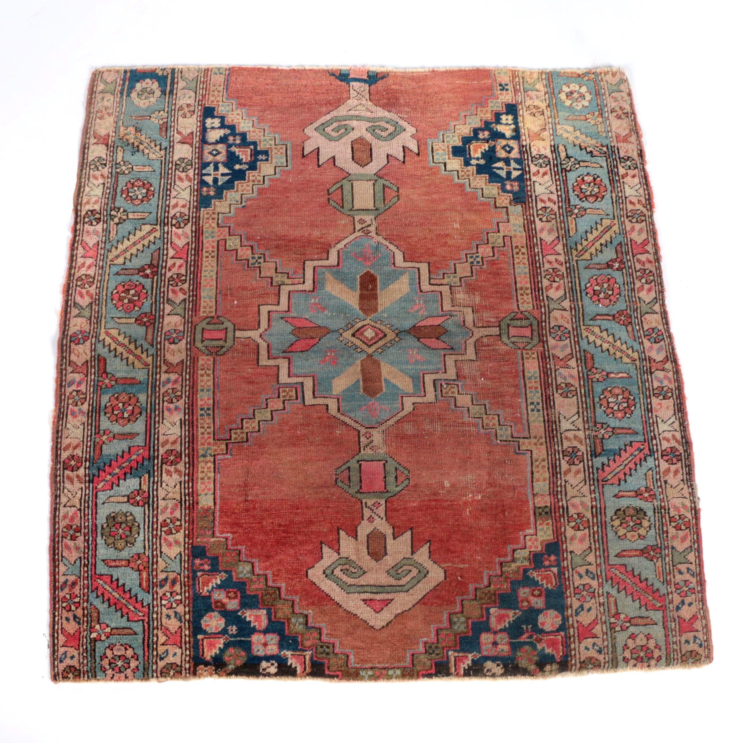 Vintage Hand-Knotted Kazak Wool Area Rug Remnant