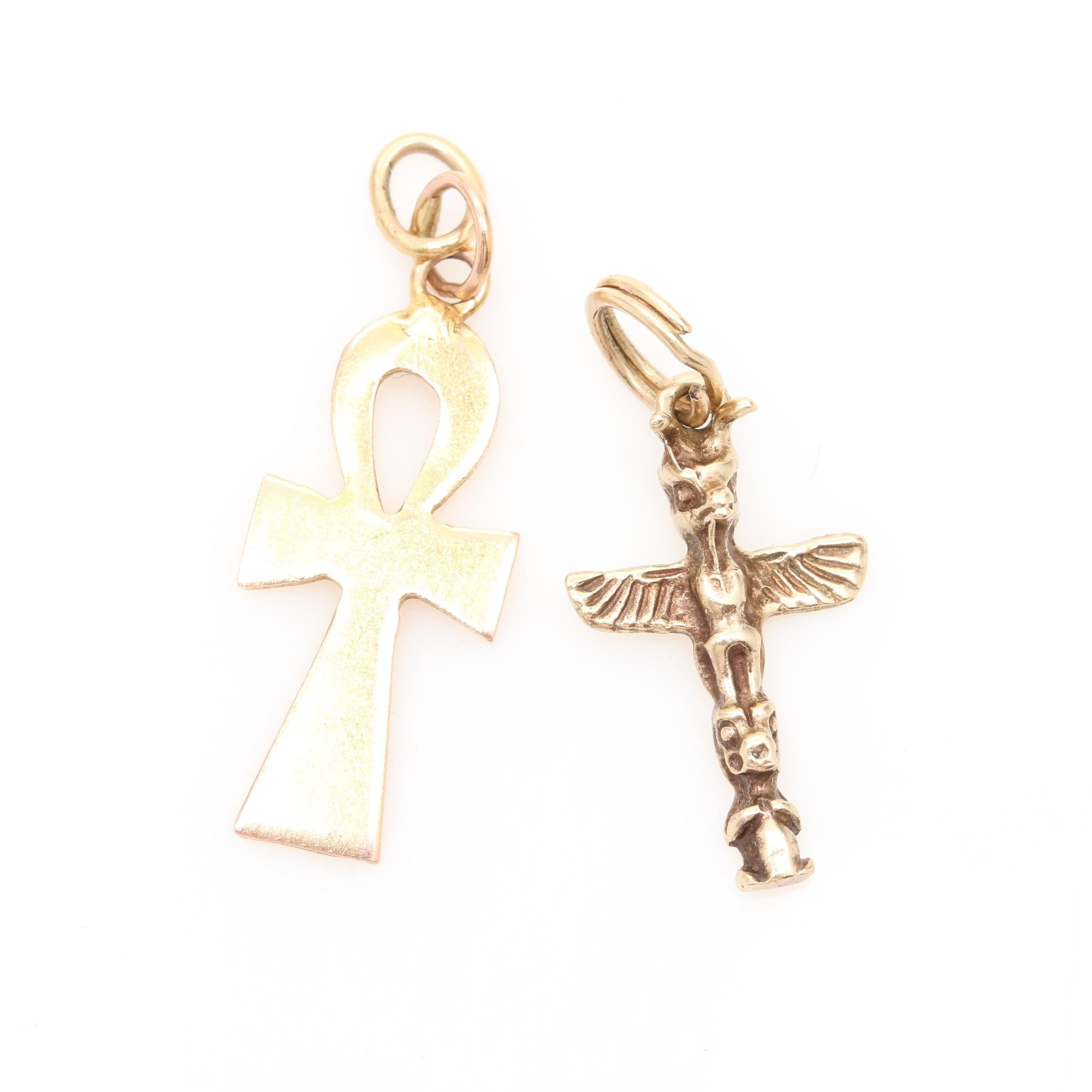 14K Yellow Gold Totem and Ankh Charm Pendants