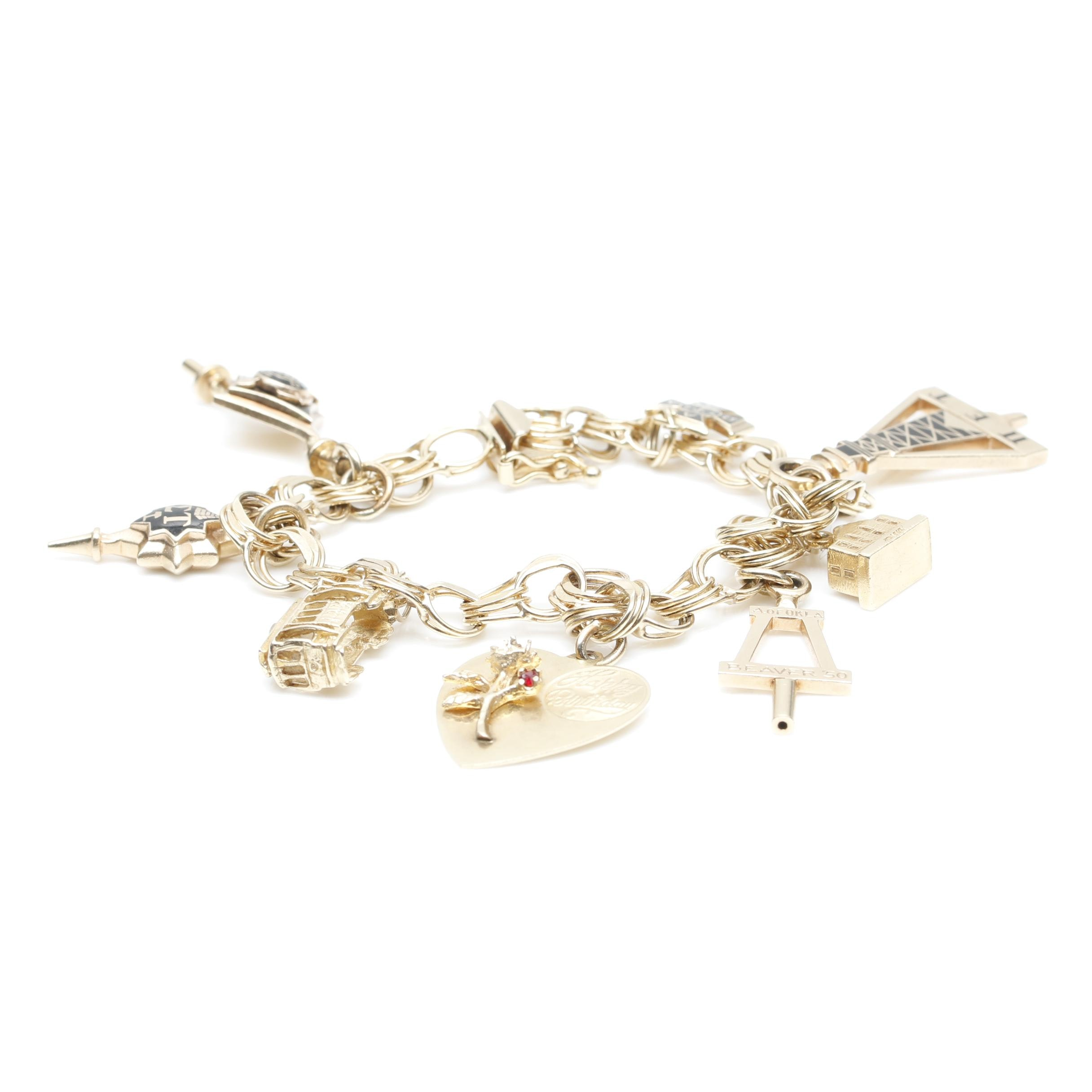 14K Yellow Gold Black Enamel Charm Bracelet with Greek Sorority Themed Charms