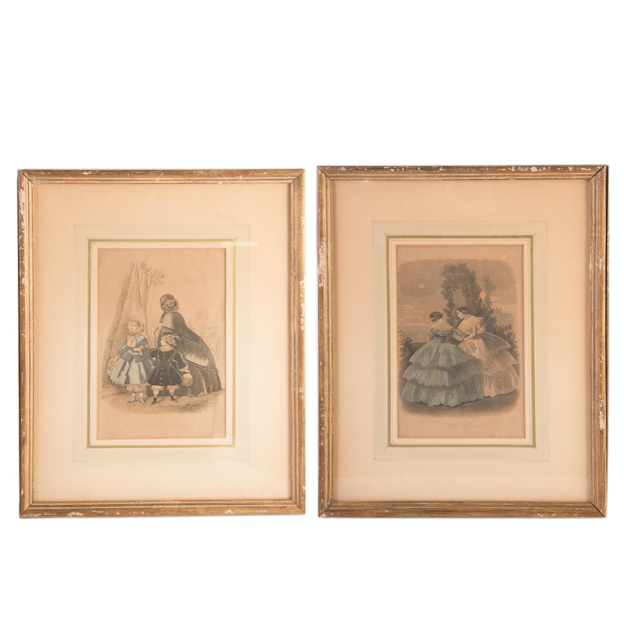 "Antique Hand-Colored ""Les Modes Parisiennes"" Fashion Engravings on Paper"