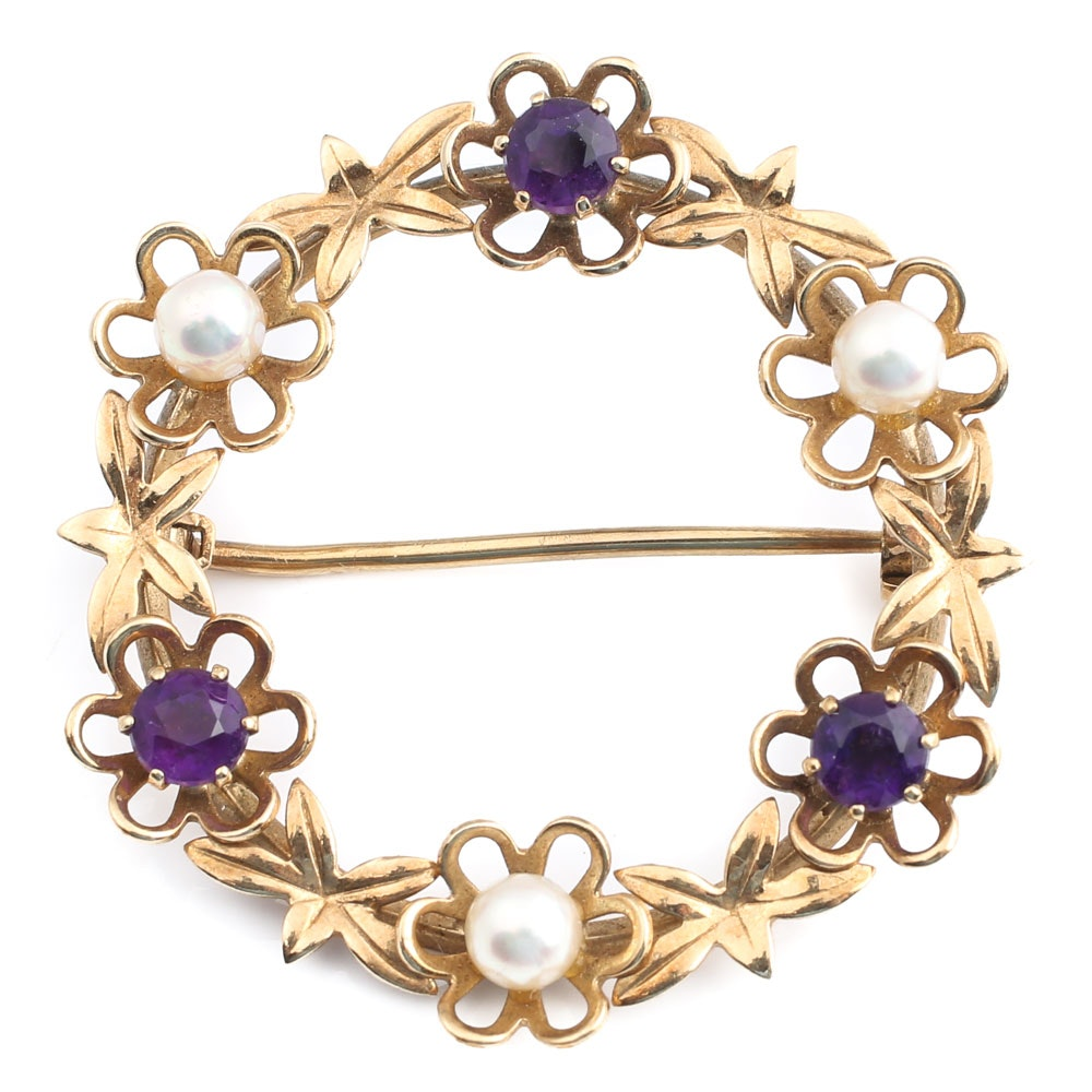 Vintage 9K Yellow Gold Amethyst and Pearl Wreath Brooch