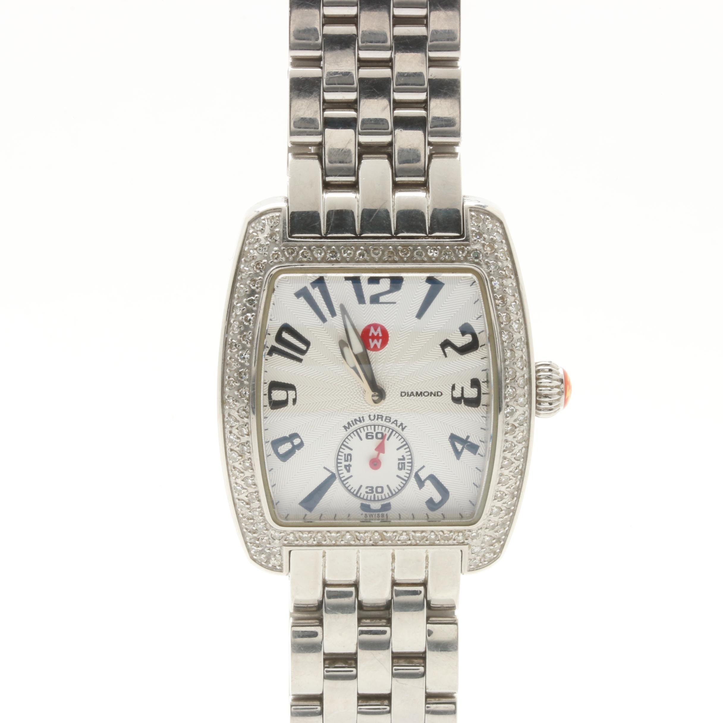 Michele Stainless Steel Diamond Bezel Wristwatch