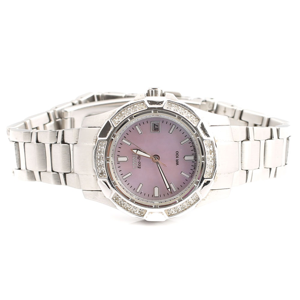 Stainless Steel Citizen Eco-Drive Diamond Wristwatch