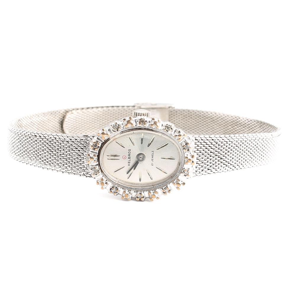 Helbros Stainless Steel Diamond Wristwatch